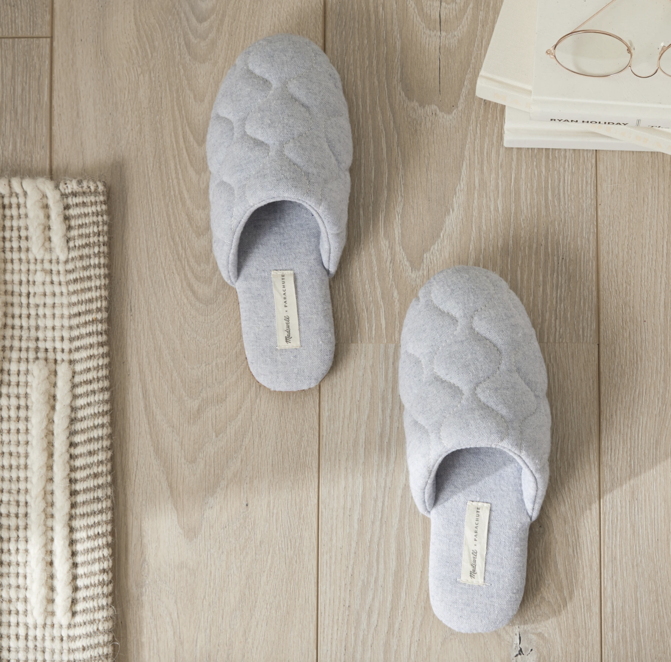 Chambray Quilted Slippers