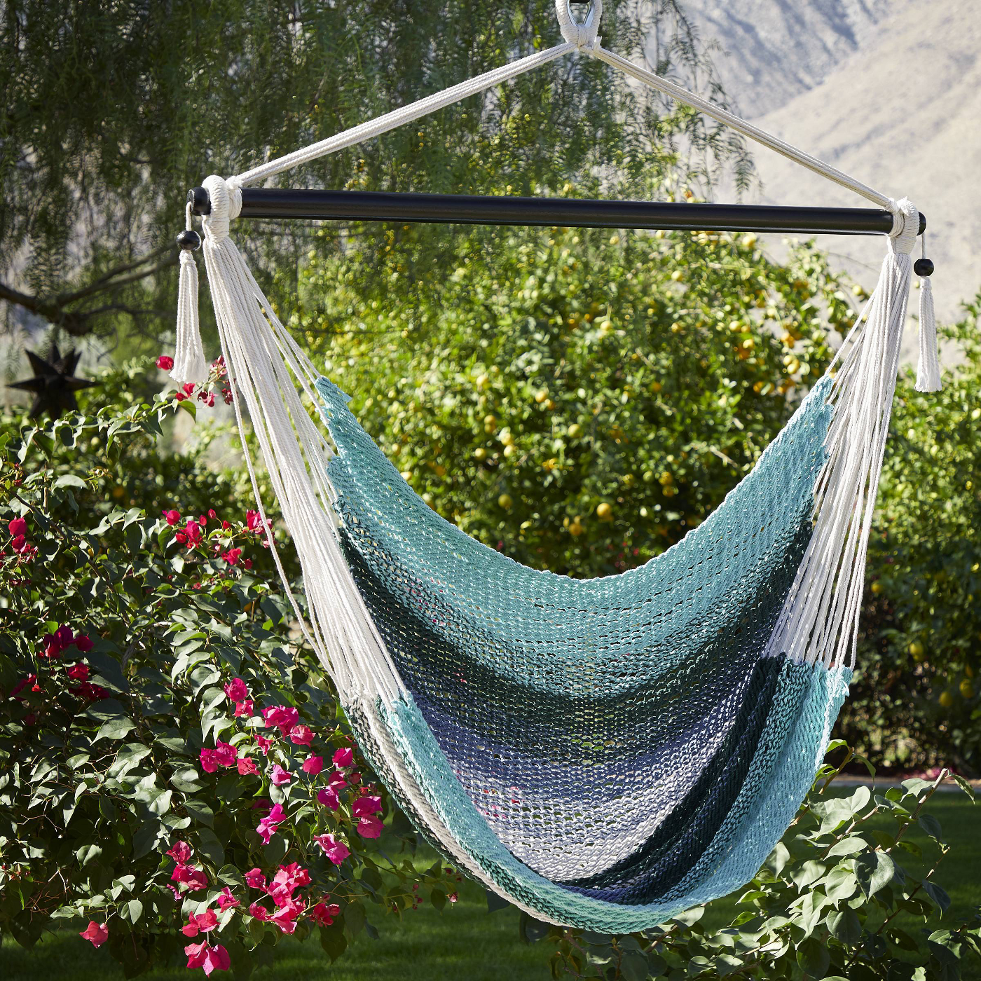 Macrame Striped Hammock Chair with Spreader Bar
