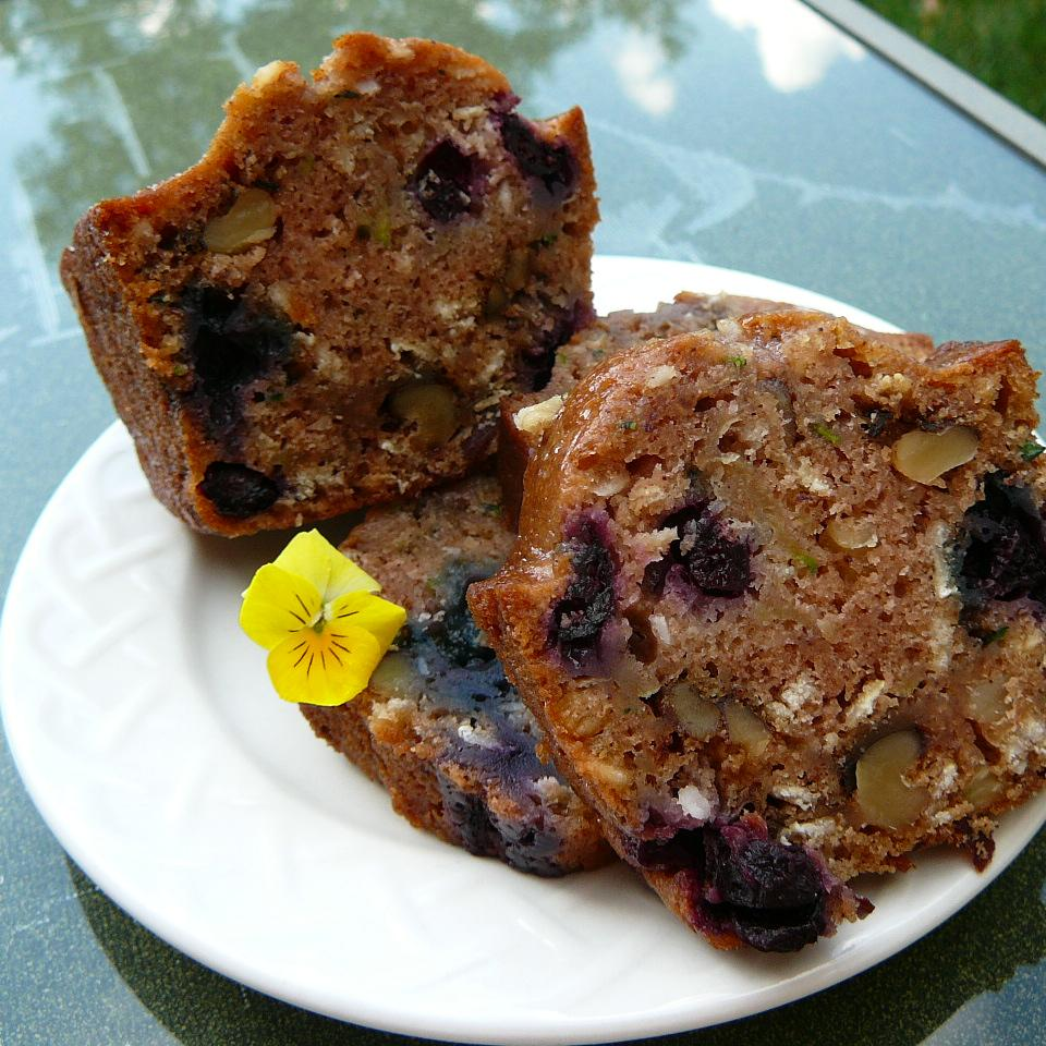 Barbie's Blueberry Zucchini Bread with Oatmeal and Walnuts