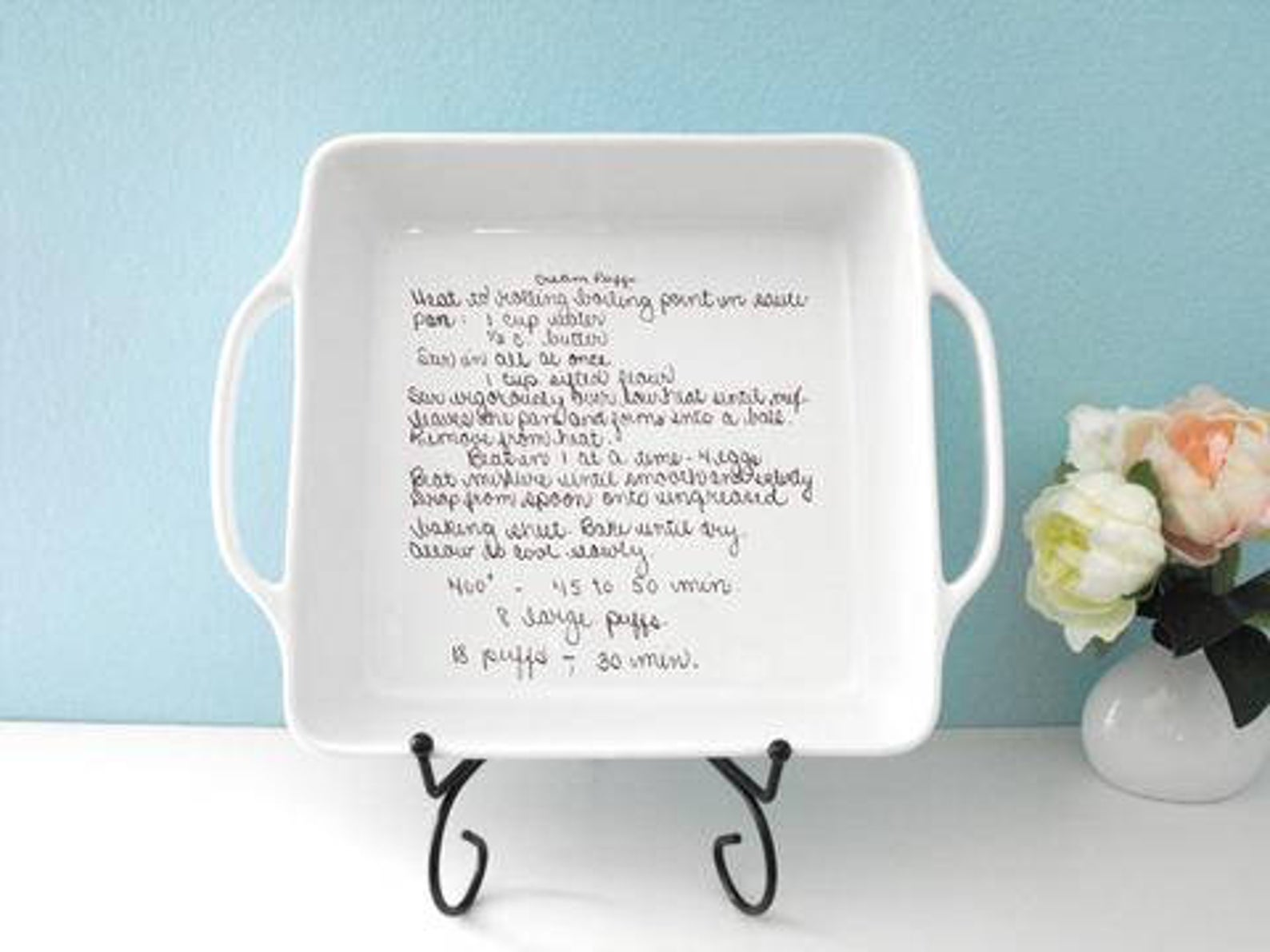 Square Casserole Baking Dish Customized with Handwritten Recipe