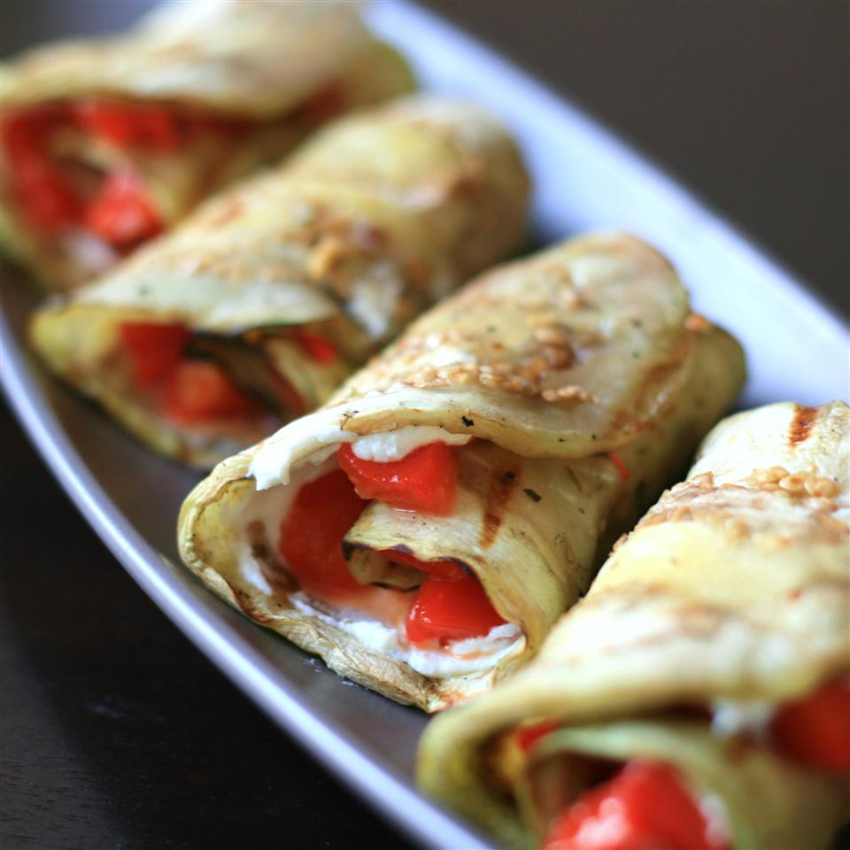 grilled eggplant rolled with red peppers and goat cheese