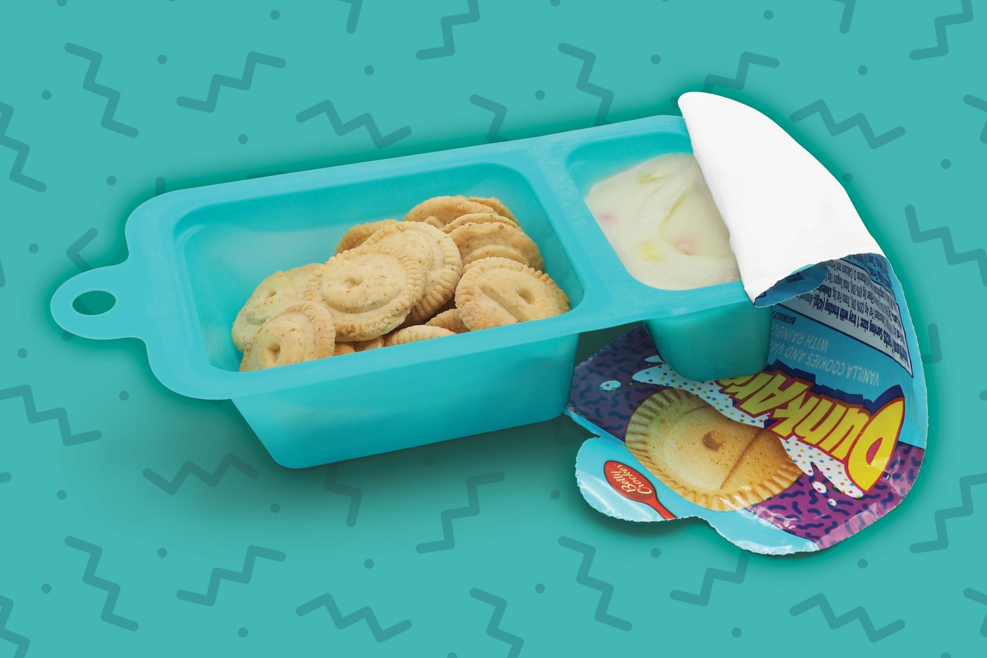 Dunkaroos Tray on a Teal Background