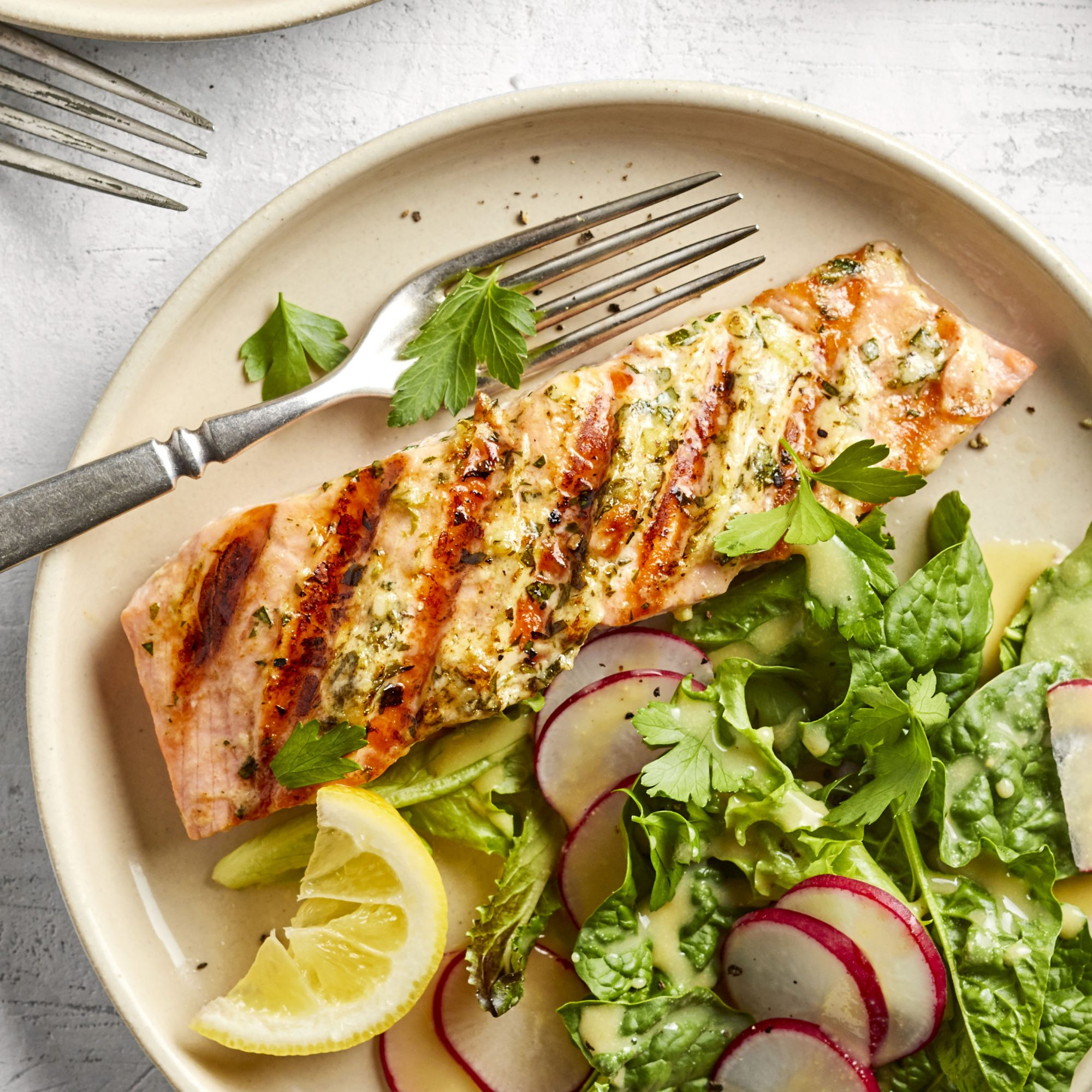 grilled salmon with salad with radishes