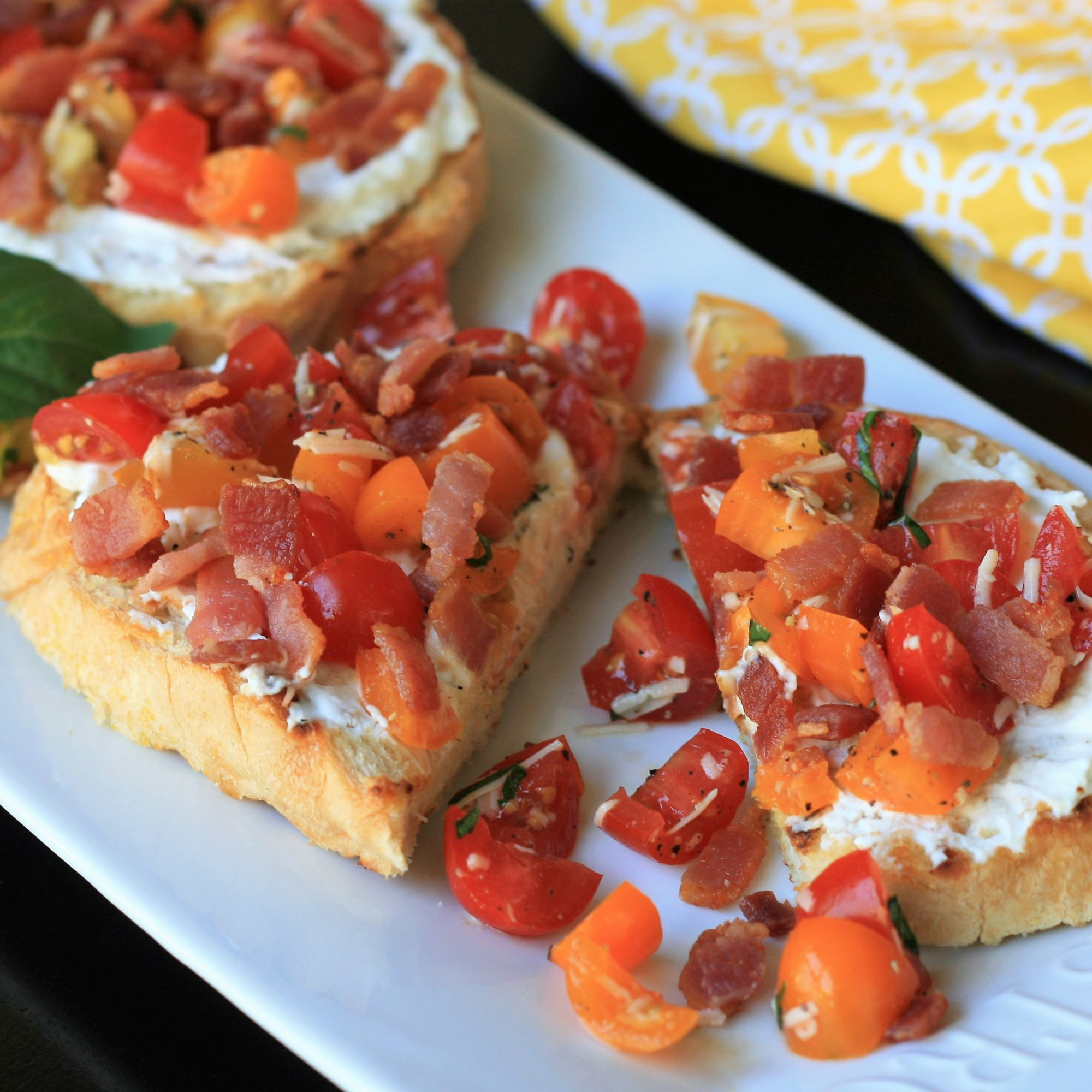Ricotta Toast with Bacon and Tomato