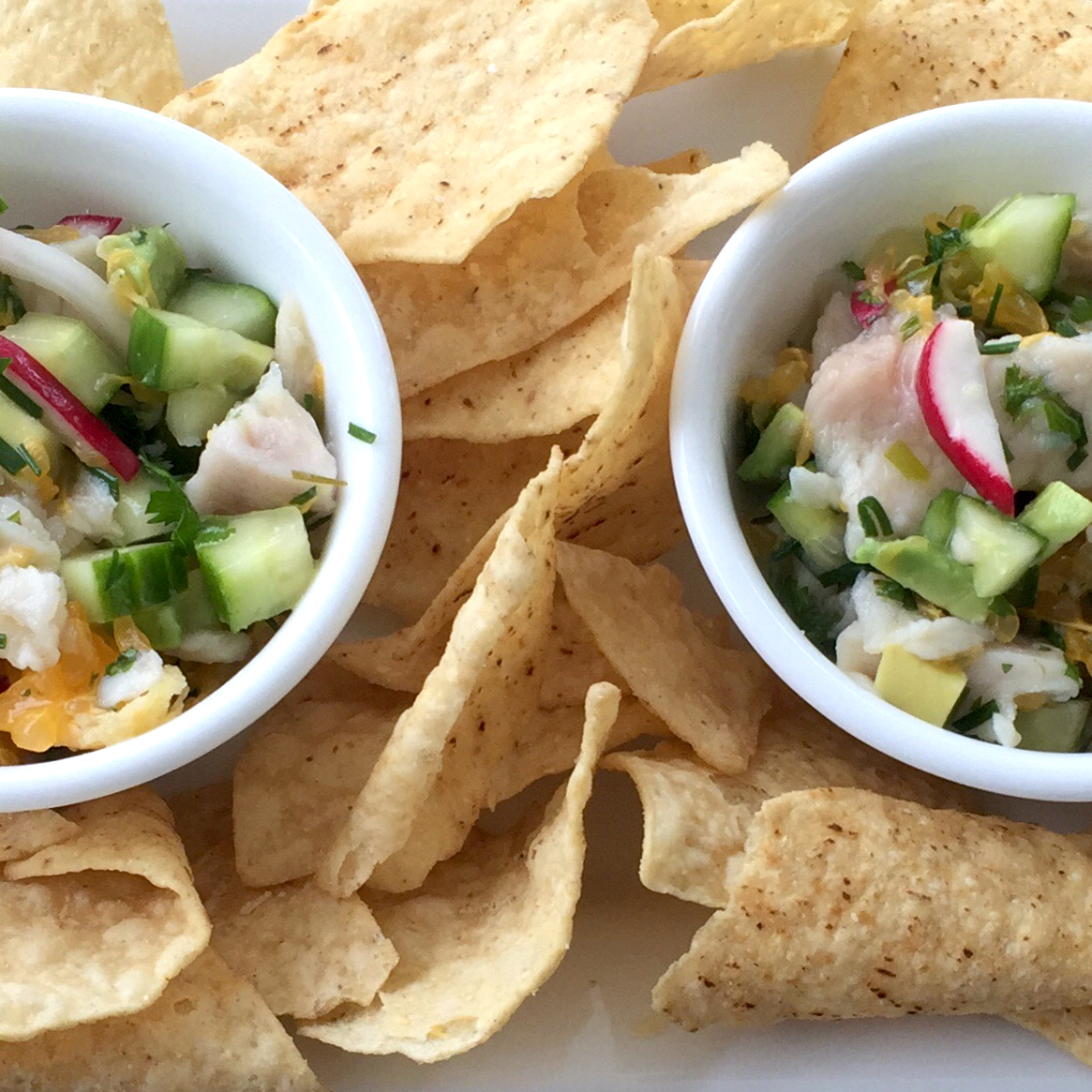 two bowls of Mahi Mahi Ceviche with tortilla chips