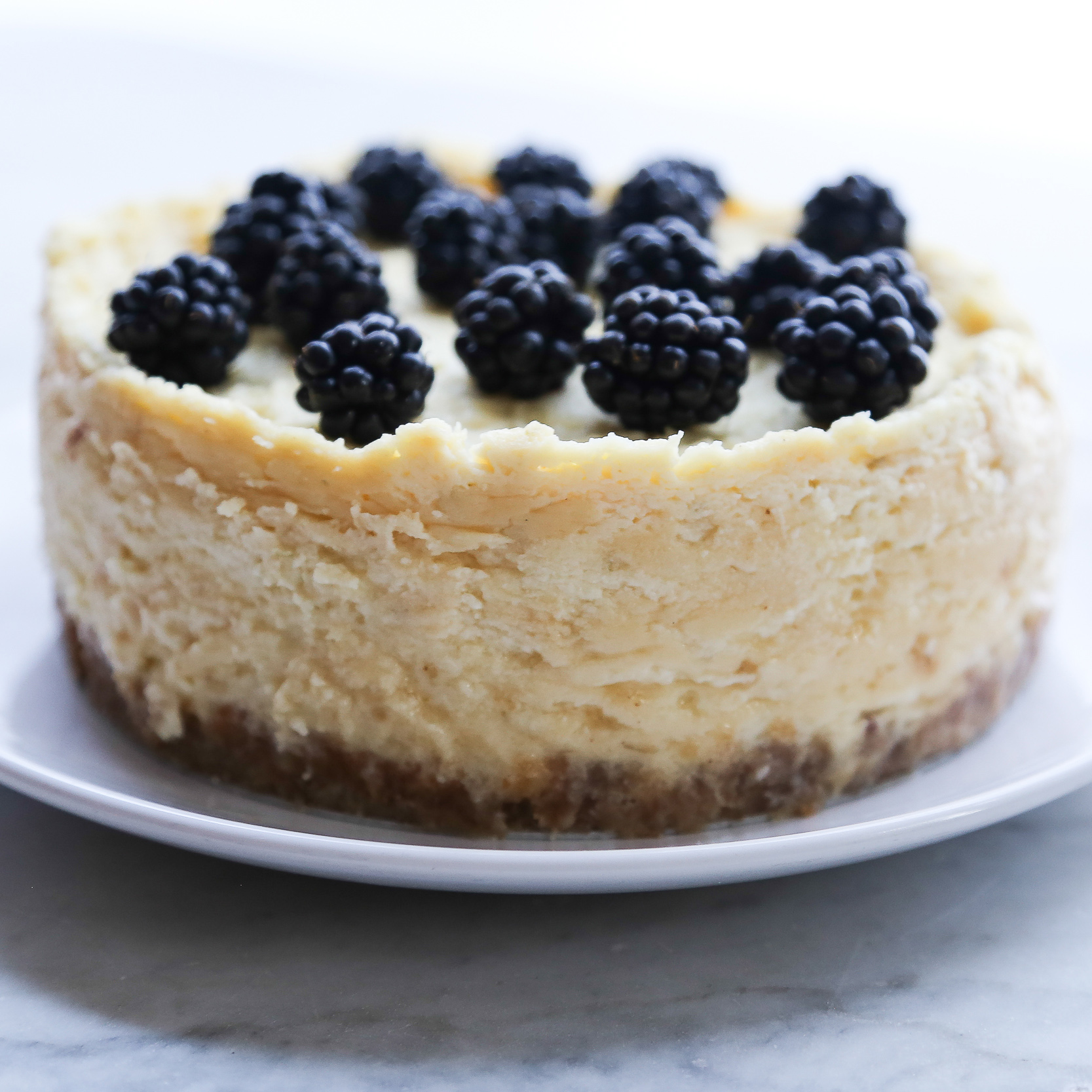 Instant Pot Cheesecake topped with blackberries