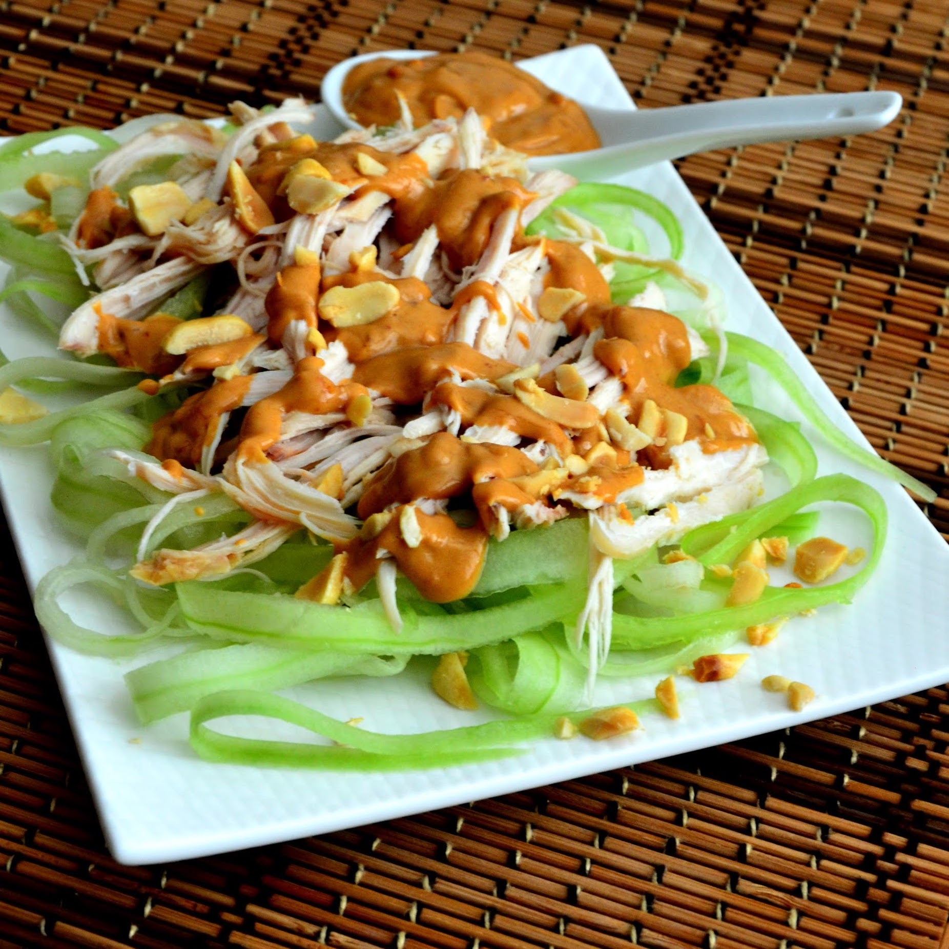 Cucumber Chicken Salad with Spicy Peanut Dressing