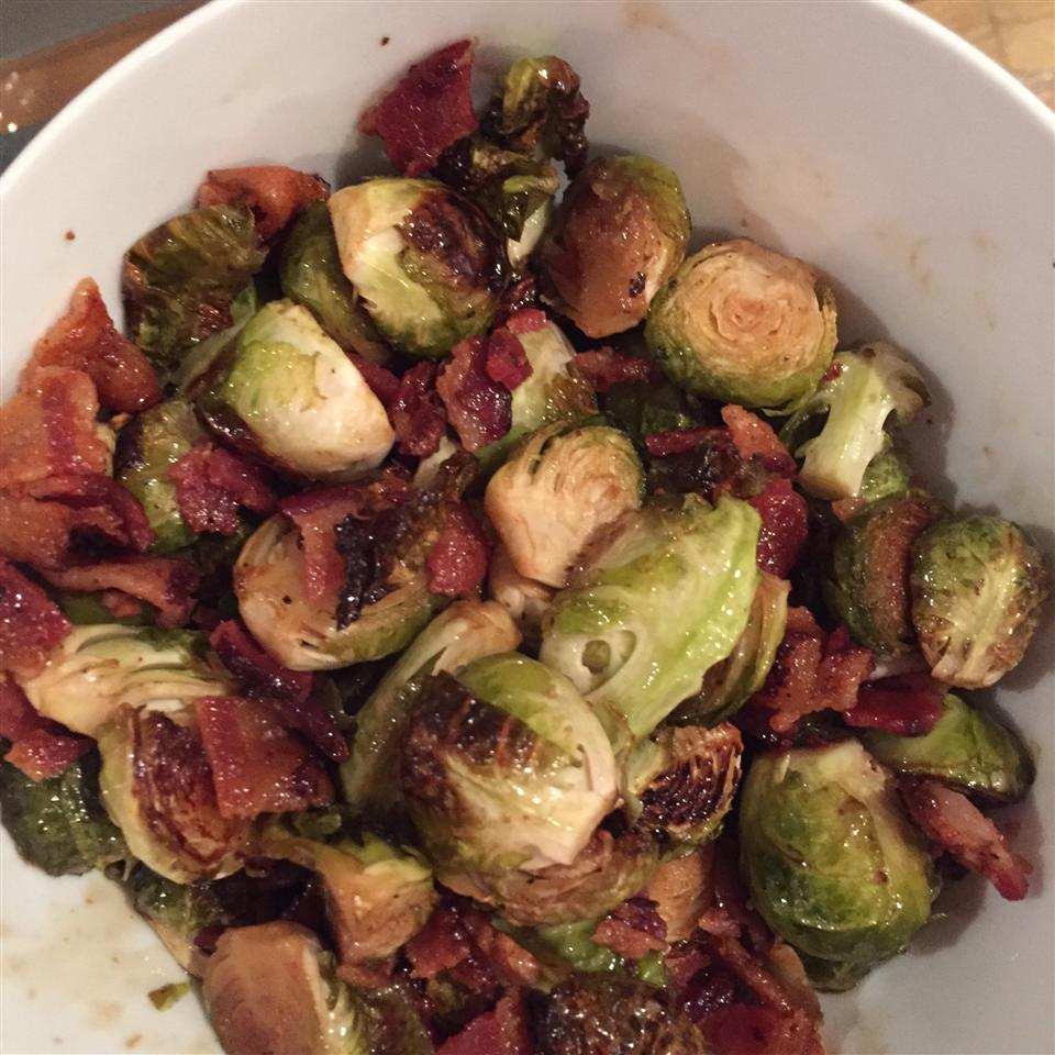 Maple Roasted Brussels Sprouts with Bacon in a white bowl
