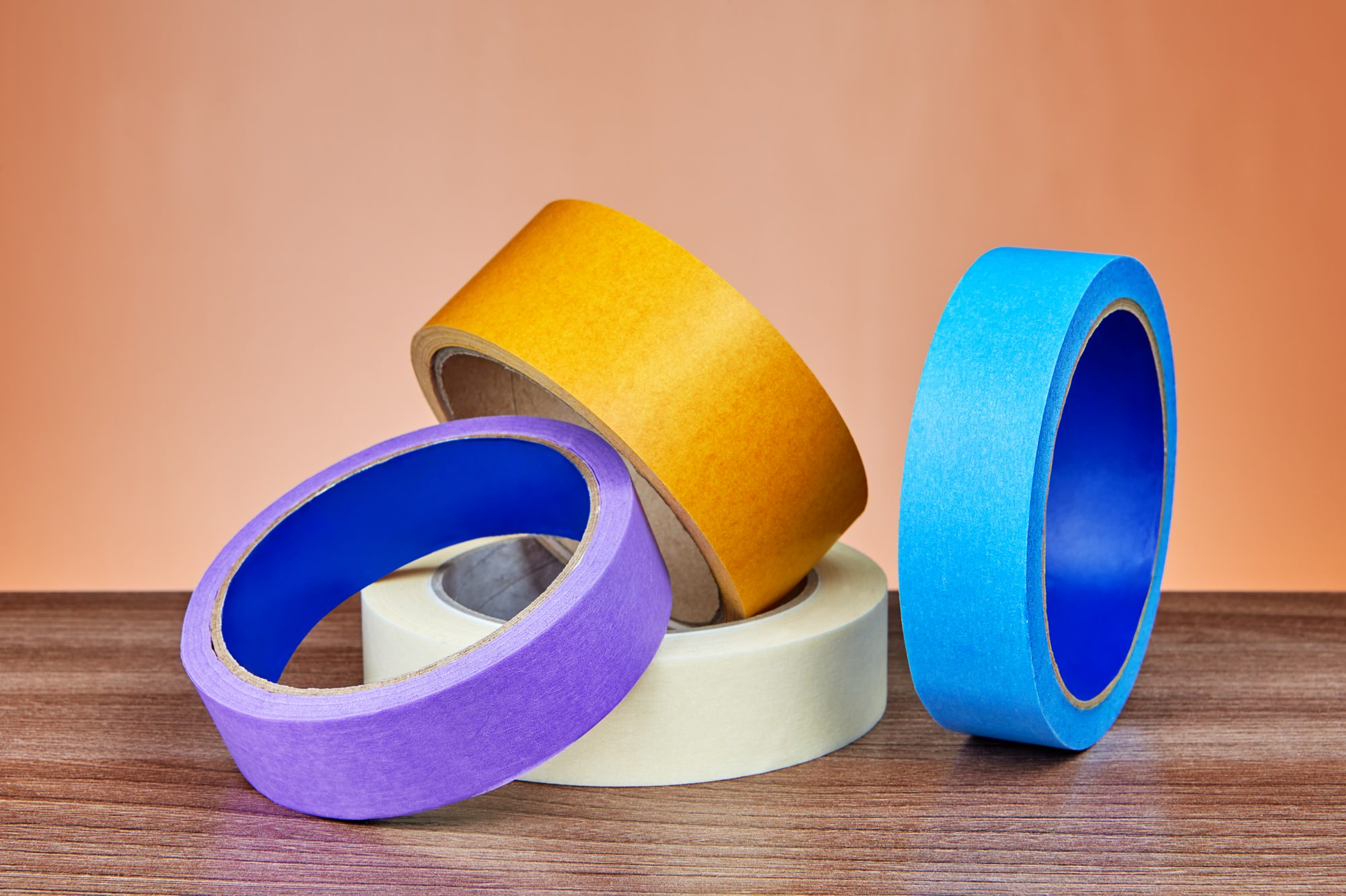 Duct tape, yellow multi-purpose and paper ribbon for painter.