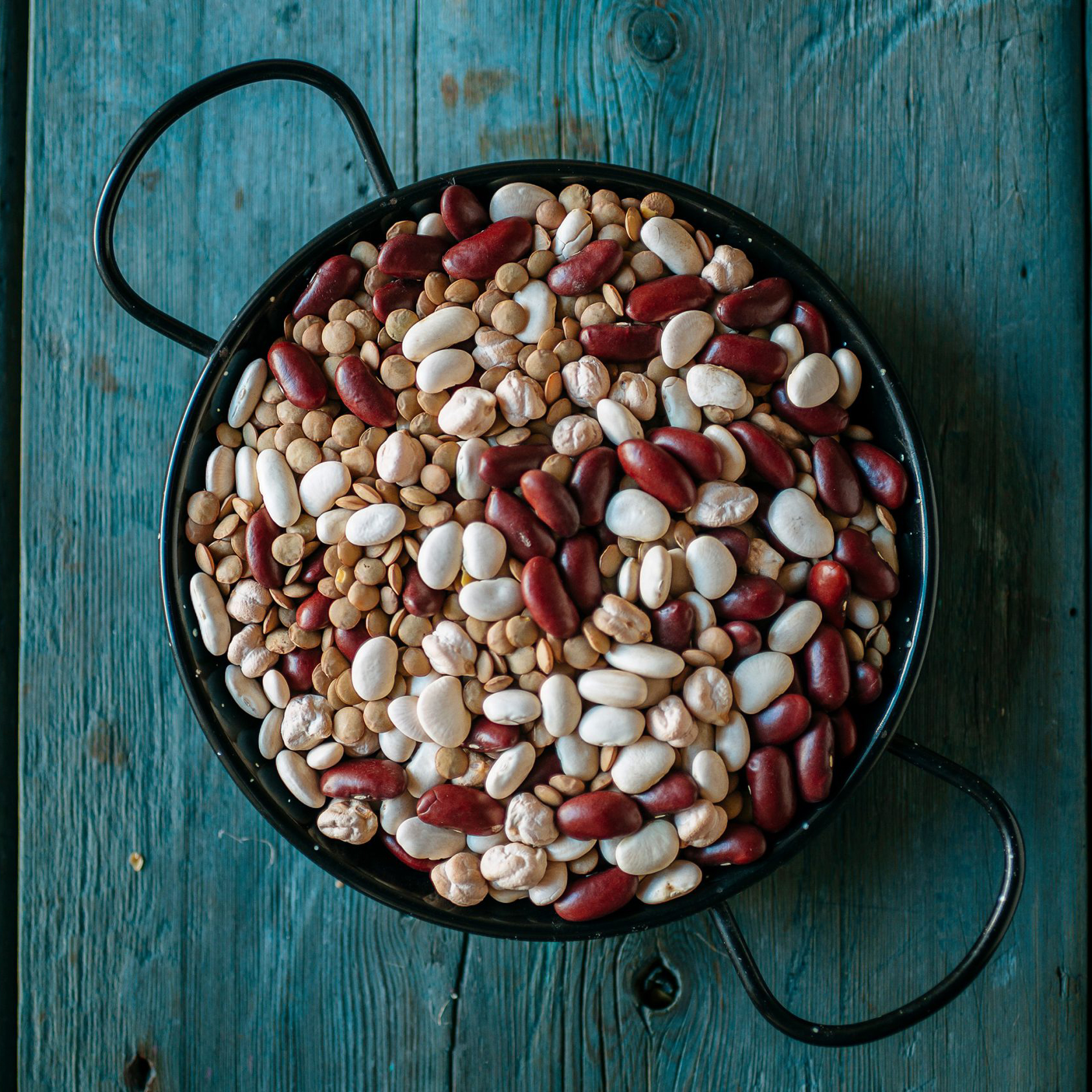 skillet of different dried beans