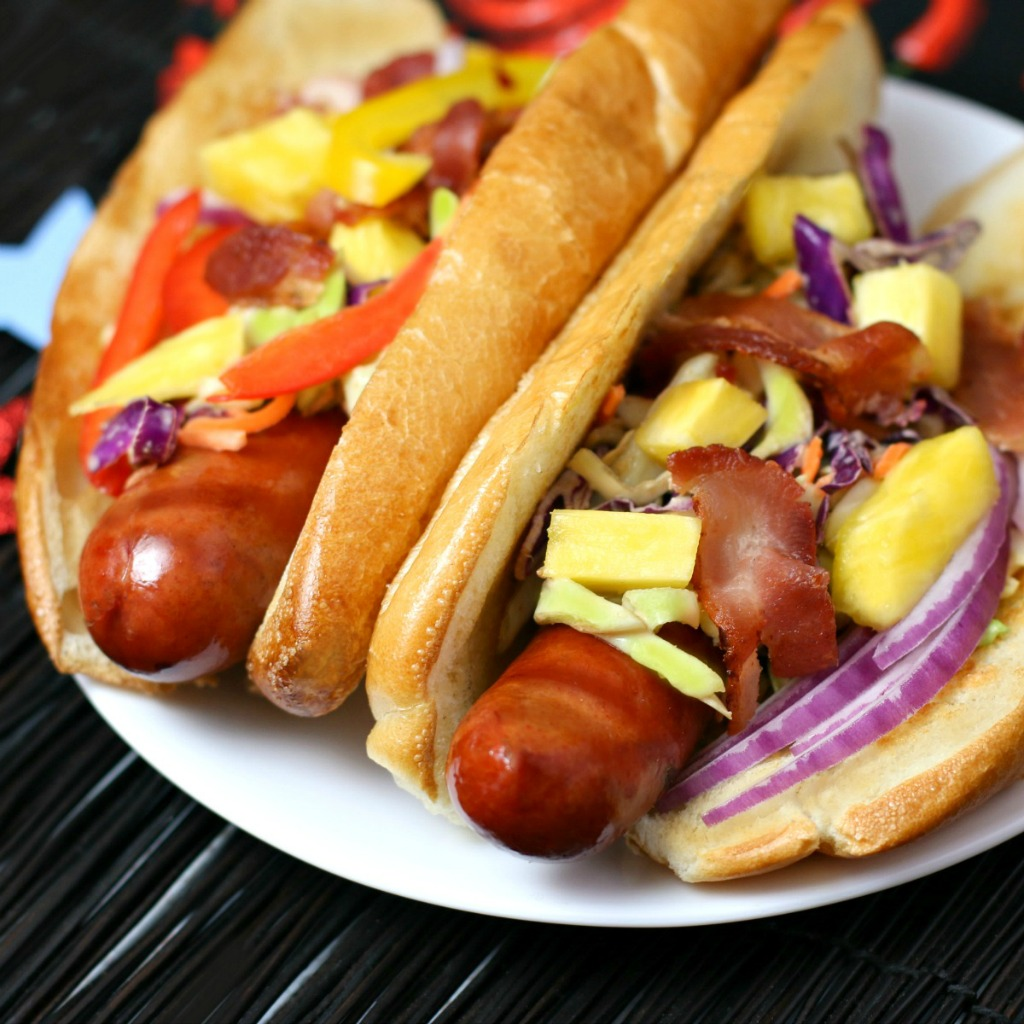 Hot Dogs with Pineapple Bacon Chipotle Slaw