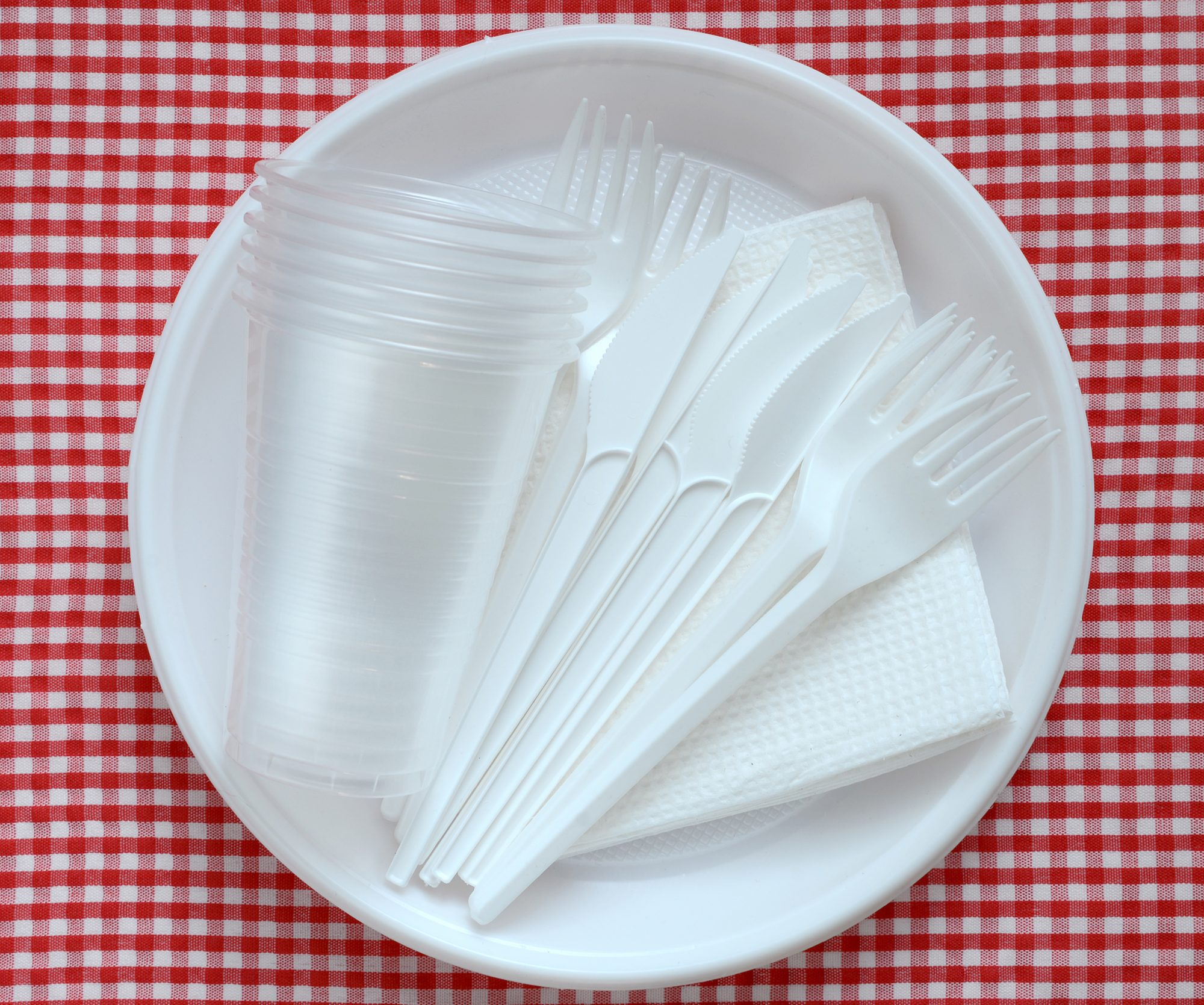 Plastic plates, cups, and utensils