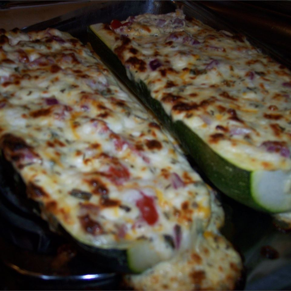 Cheese and Sausage Stuffed Zucchini