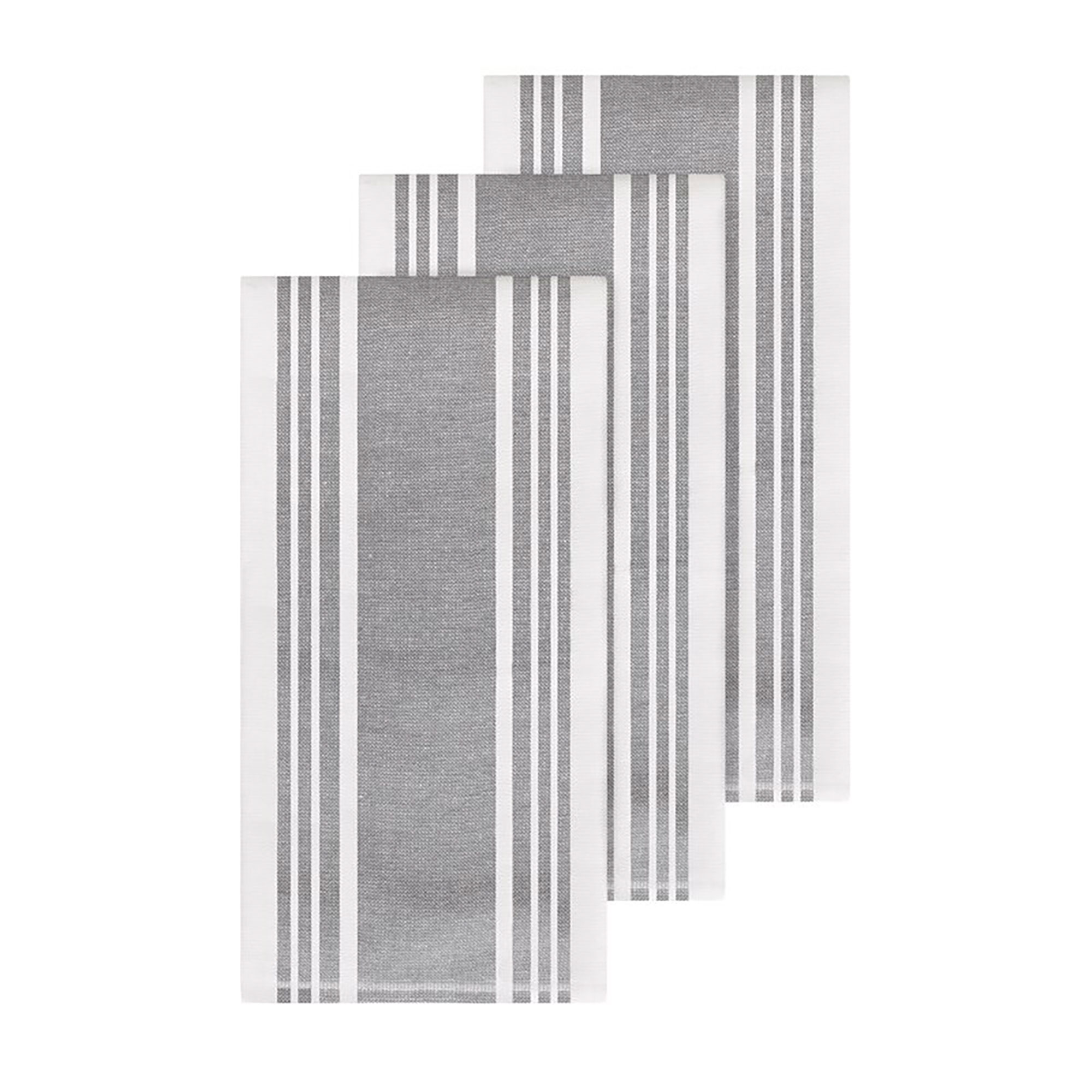 All Clad Dual Woven Stripe Hand Towel Set in gray