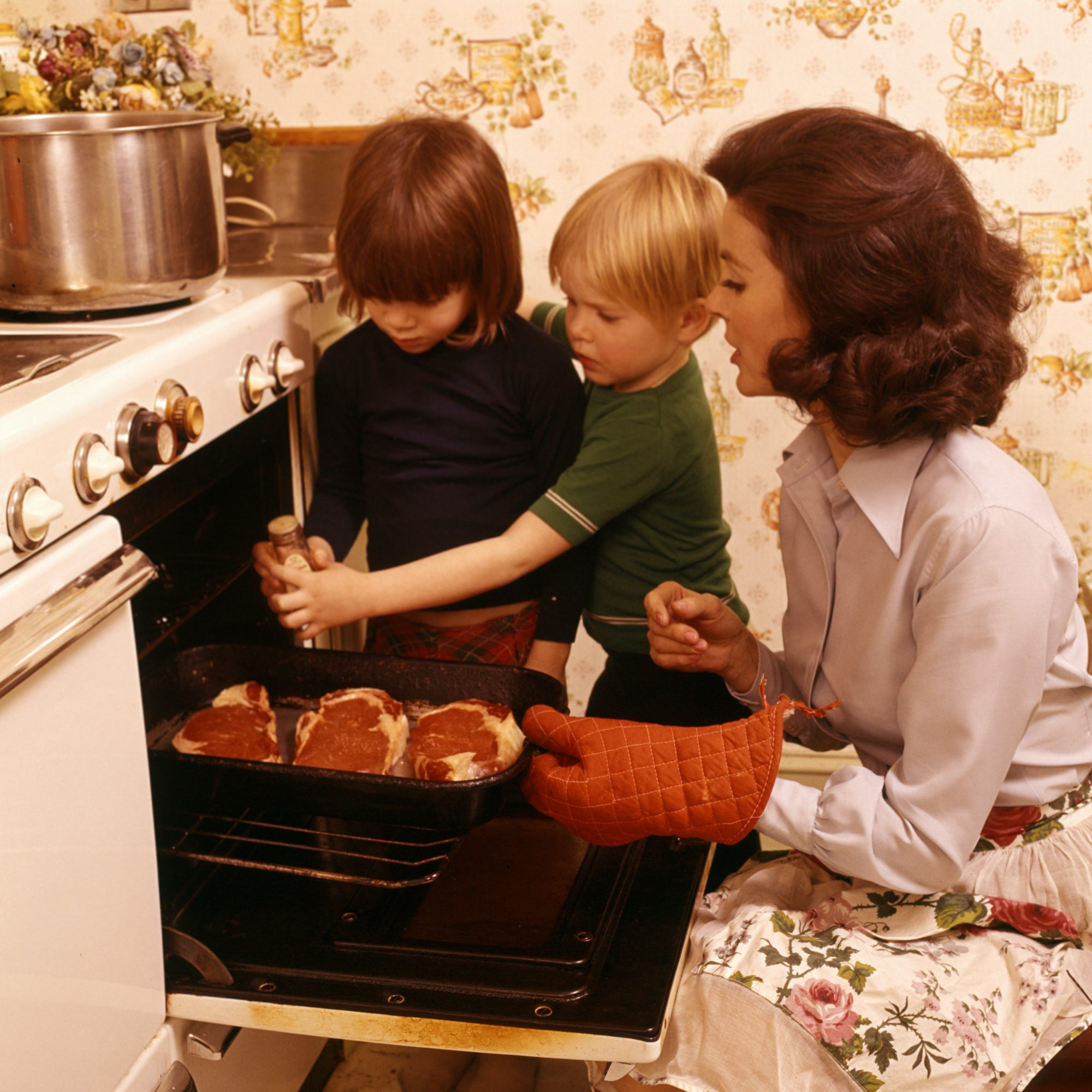 Mom Cooking with Kids 1970s