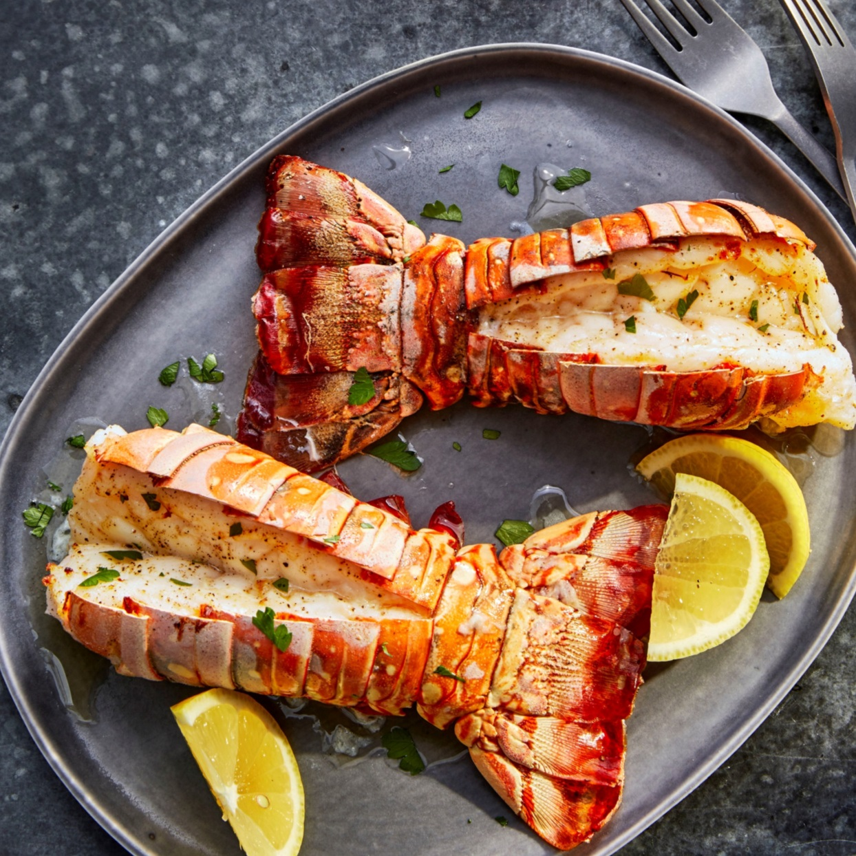 Air Fryer Lobster Tails with Lemon-Garlic Butter