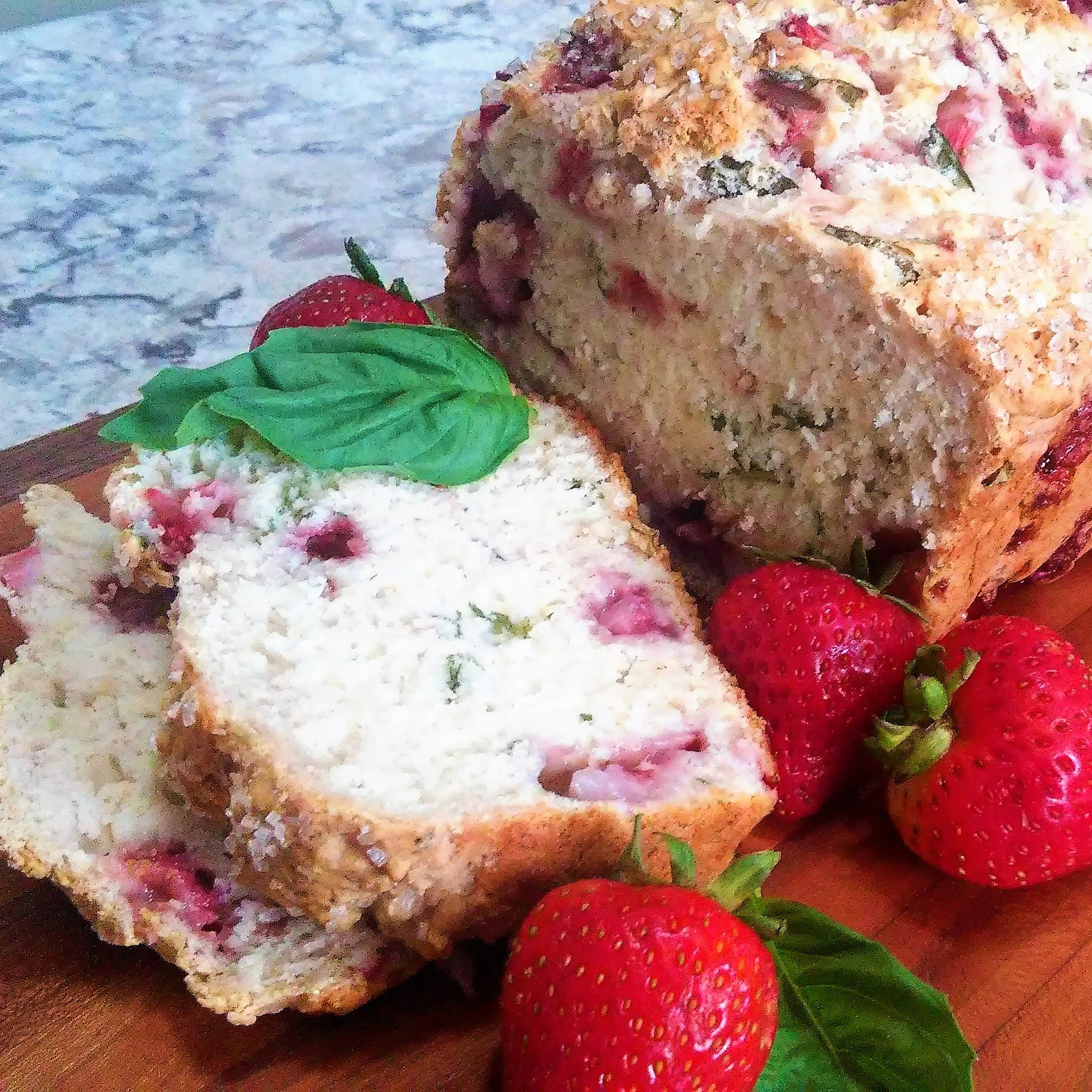 Strawberry Beer Bread with Fresh Basil