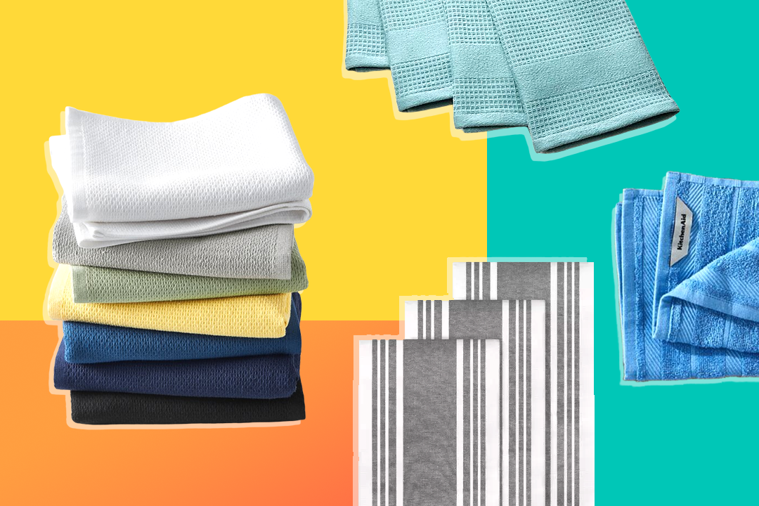 Different dish towels on colorful background