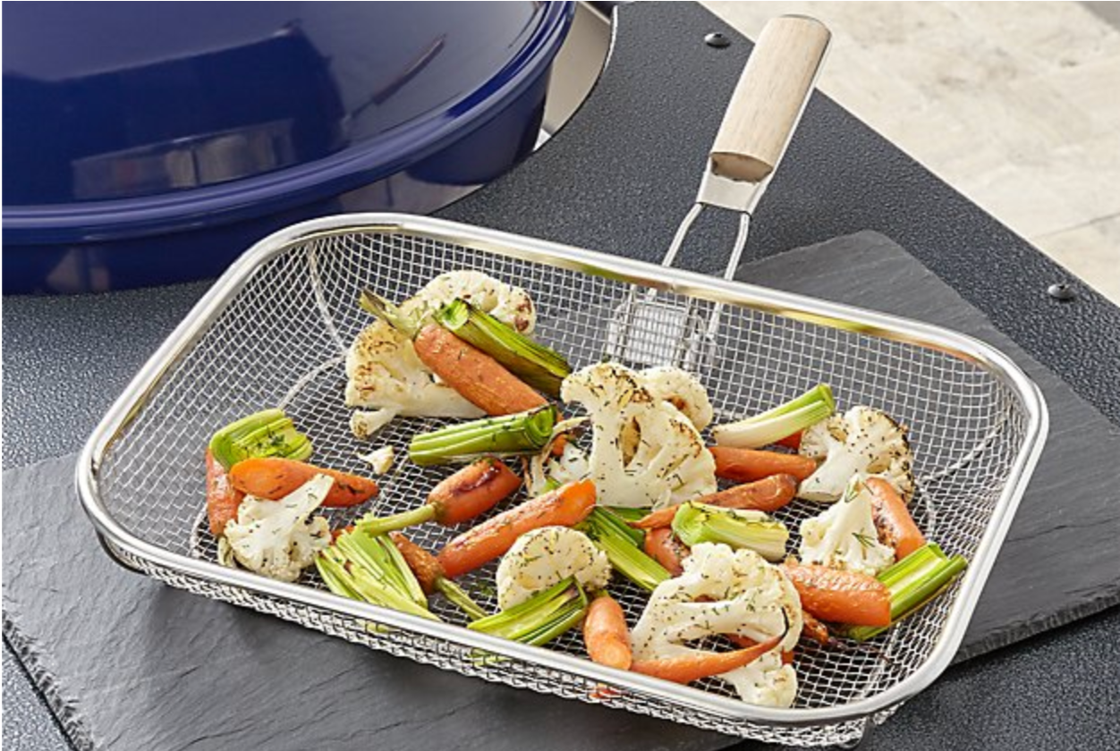 Mesh Grill Basket with Wood Handle