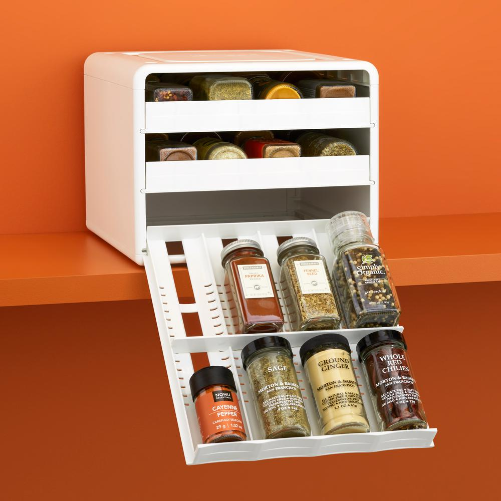 YouCopia SpiceStack 24-Bottle Adjustable Spice Rack in White