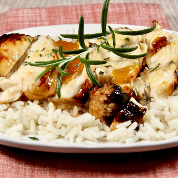 Air Fryer Apricot-Glazed Chicken Breasts