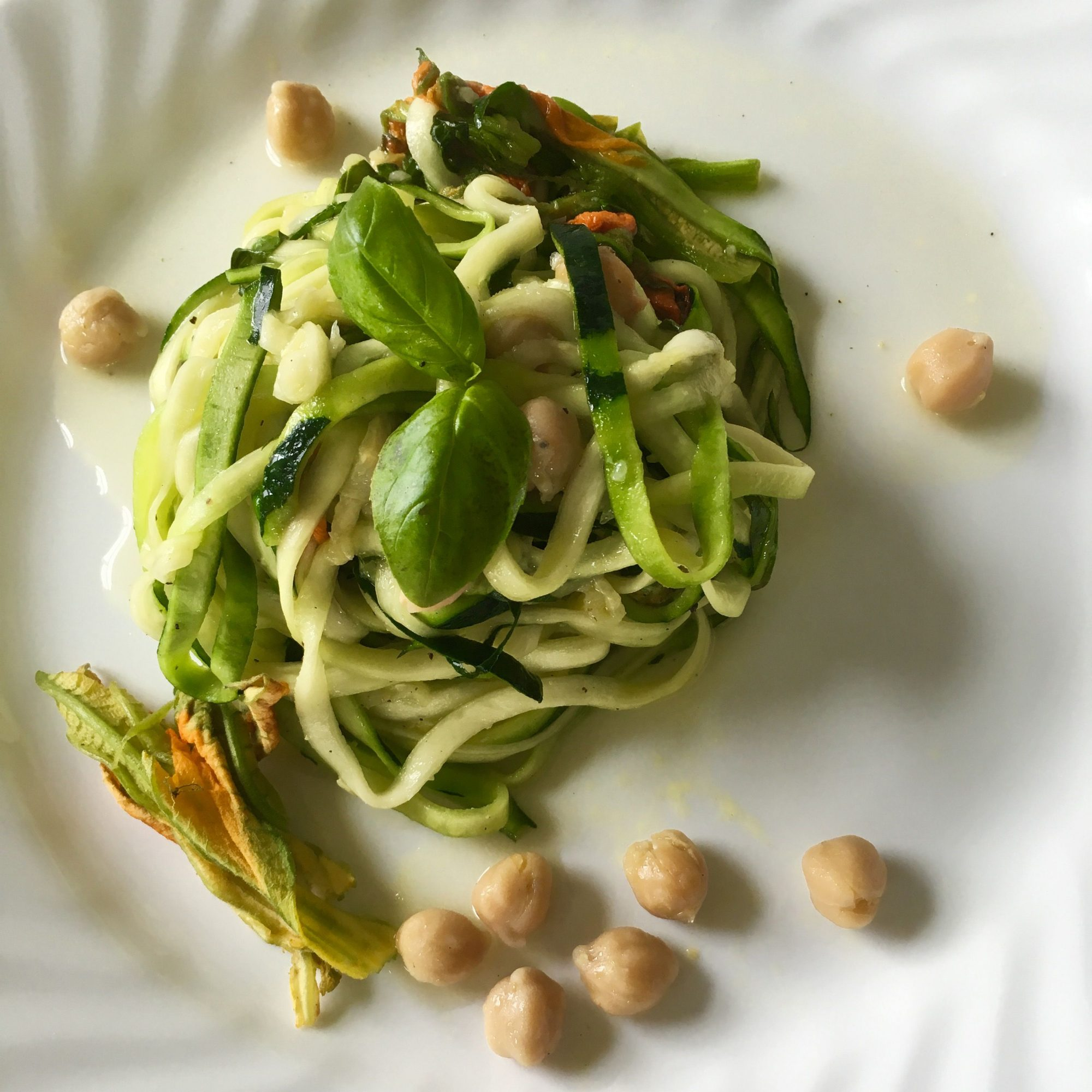 Vegan Zucchini Noodles with Chickpeas and Zucchini Blossoms