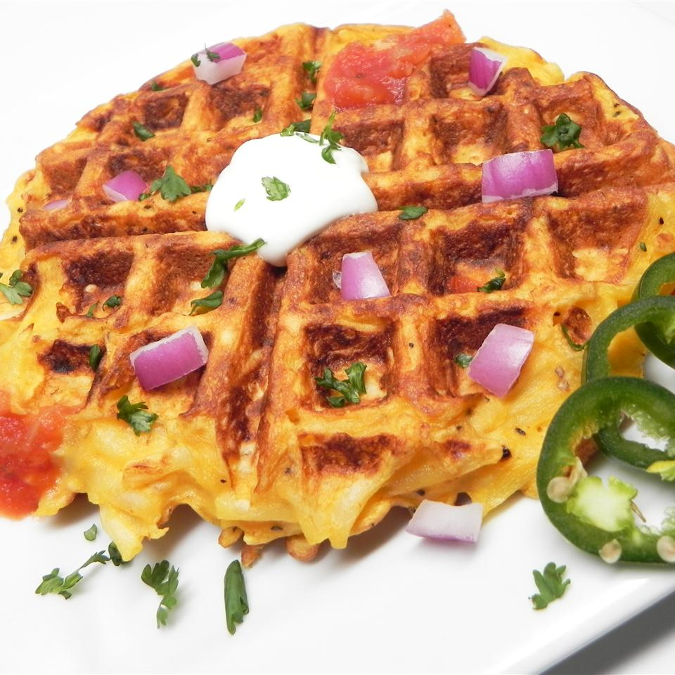 Kitchen Sink Hash Brown and Egg Waffle
