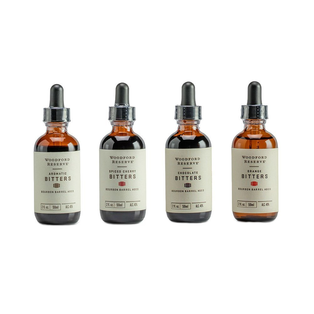 Bourbon Bitters Bundle: Woodford Reserve Aromatic, Spiced Cherry, Orange, and Chocolate Cocktail Bitters