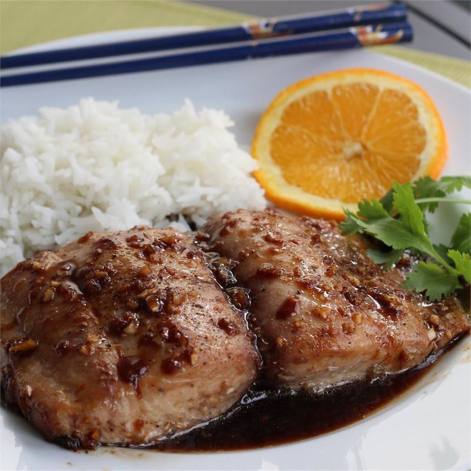 mahi mahi with ginger glaze served with rice