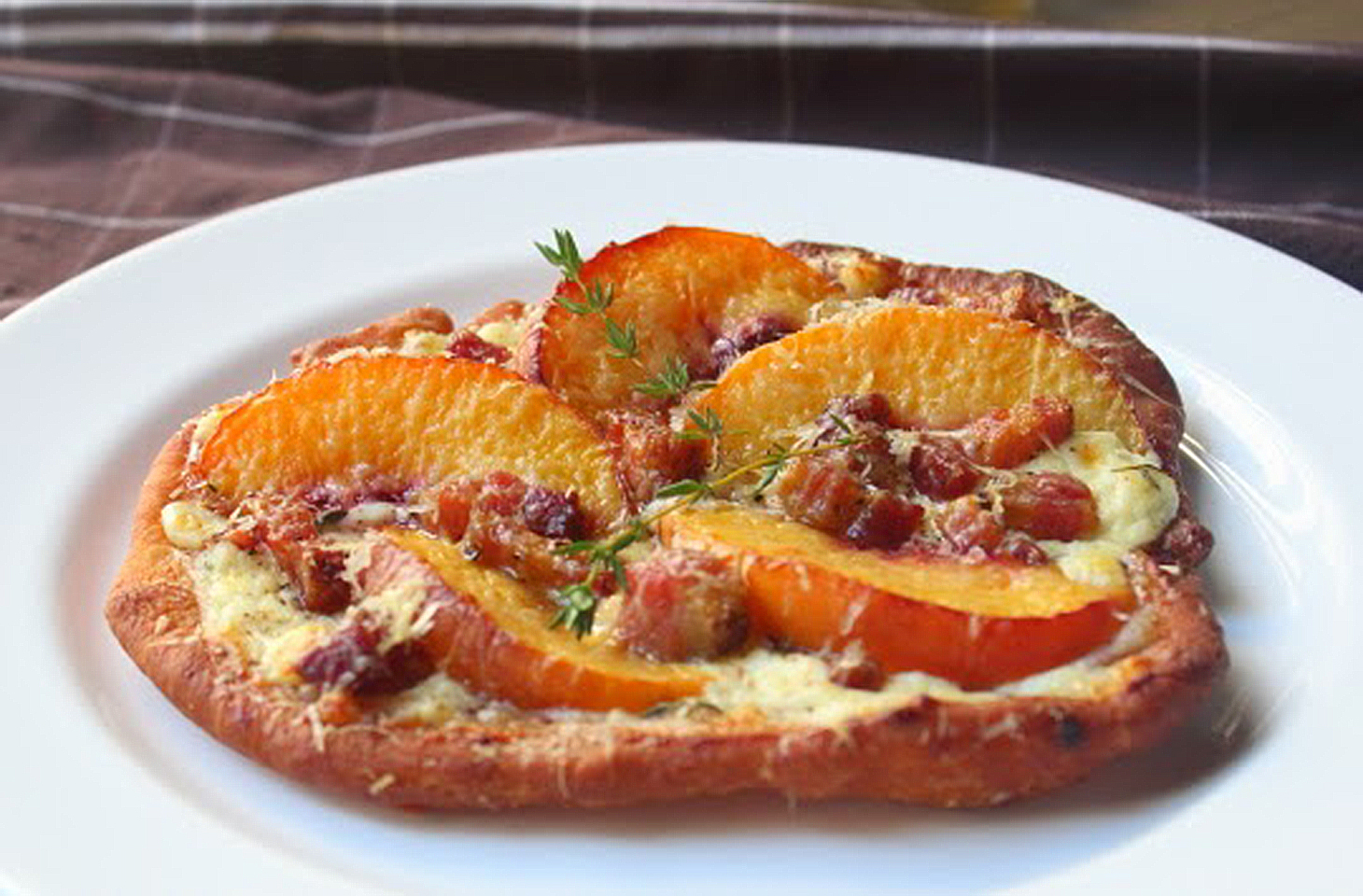 Fried Peach and Pancetta Pizza