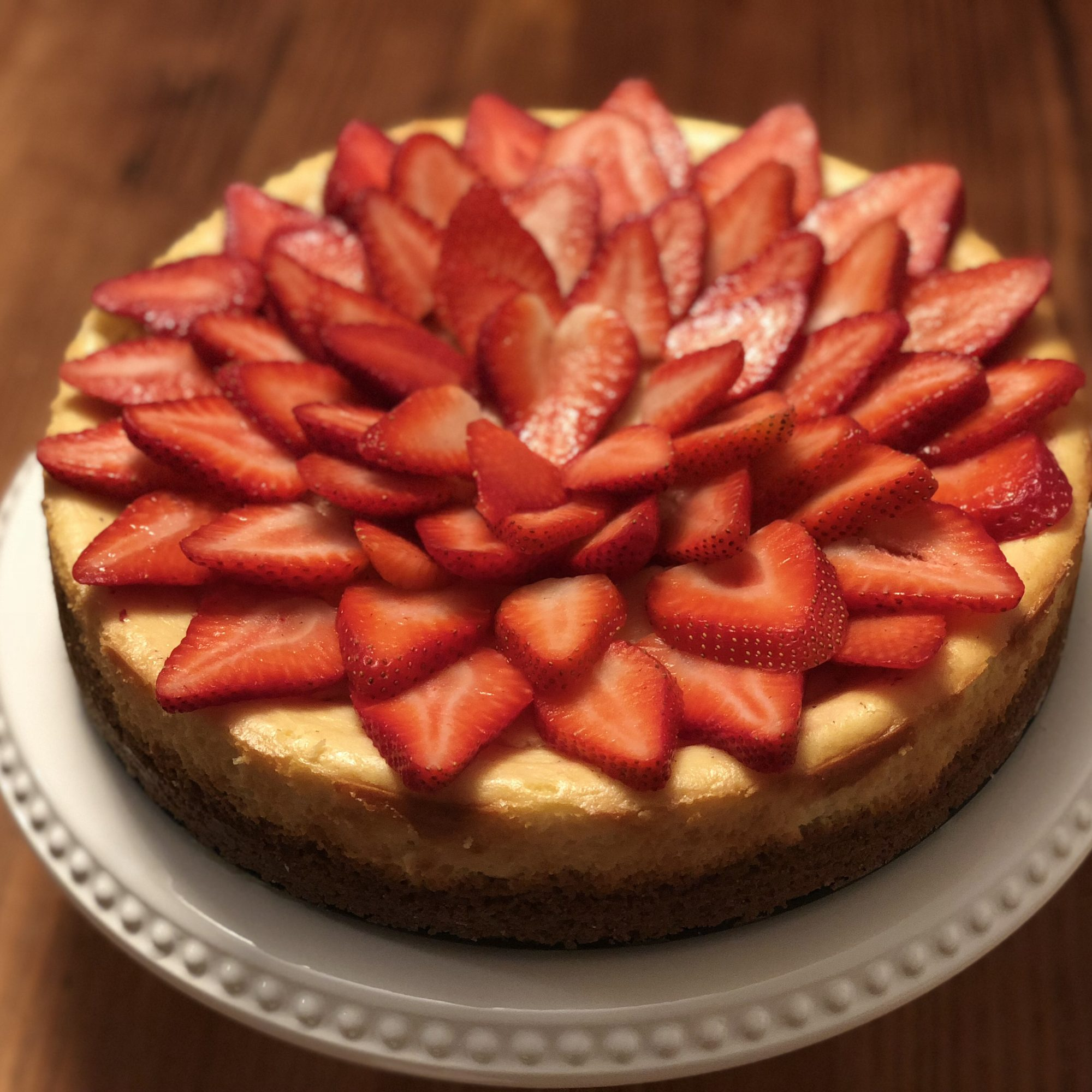 cheesecake with strawberries on top