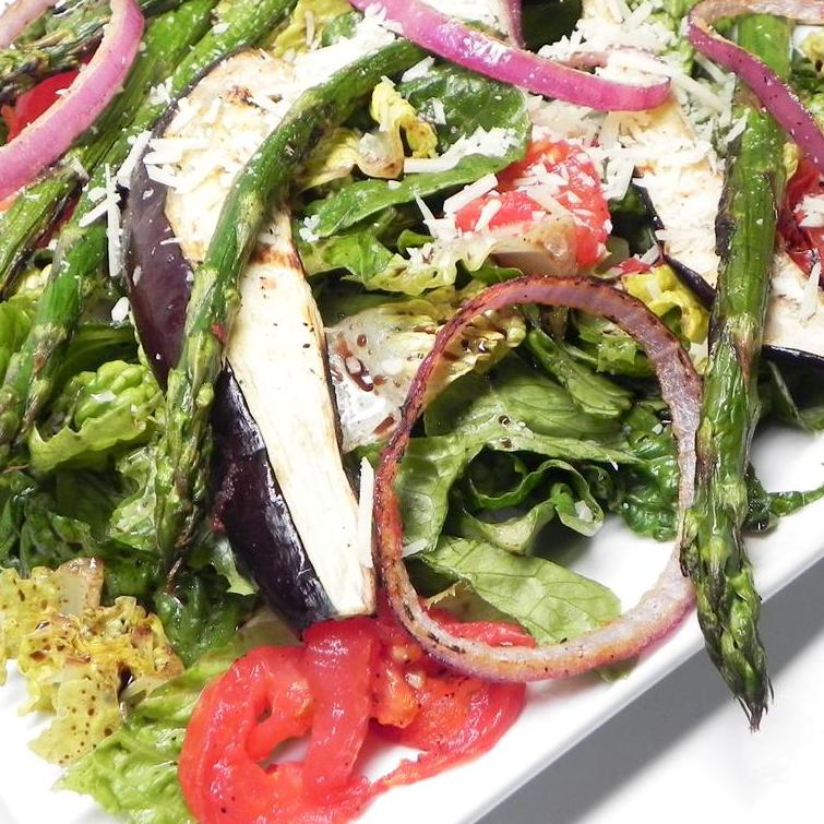 Grilled Eggplant and Asparagus Salad on a white plate