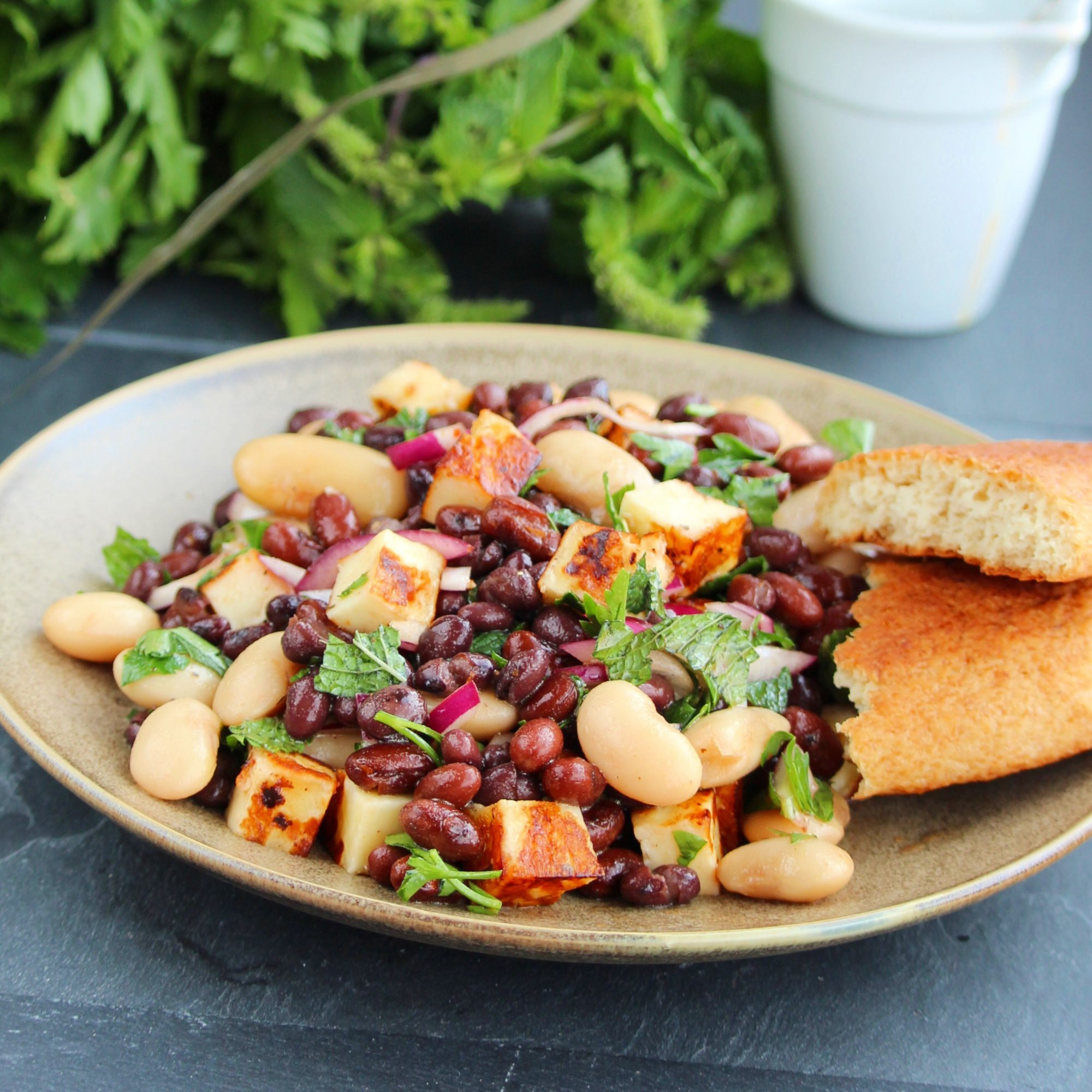 Halloumi Three-Bean Salad with Pomegranate-Harissa Vinaigrette