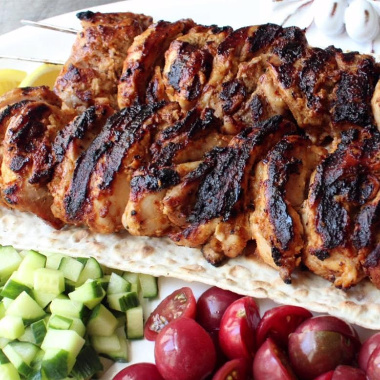 Turkish Chicken Kabobs with cucumber and tomatoes