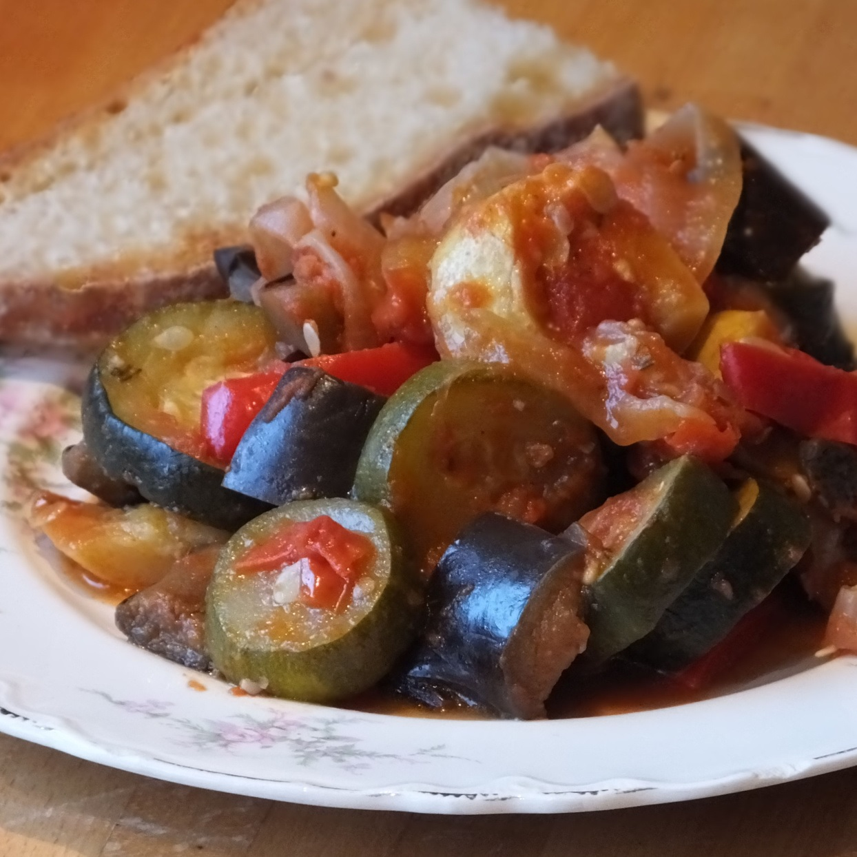 Ratatouille Provencal on a plate with bread