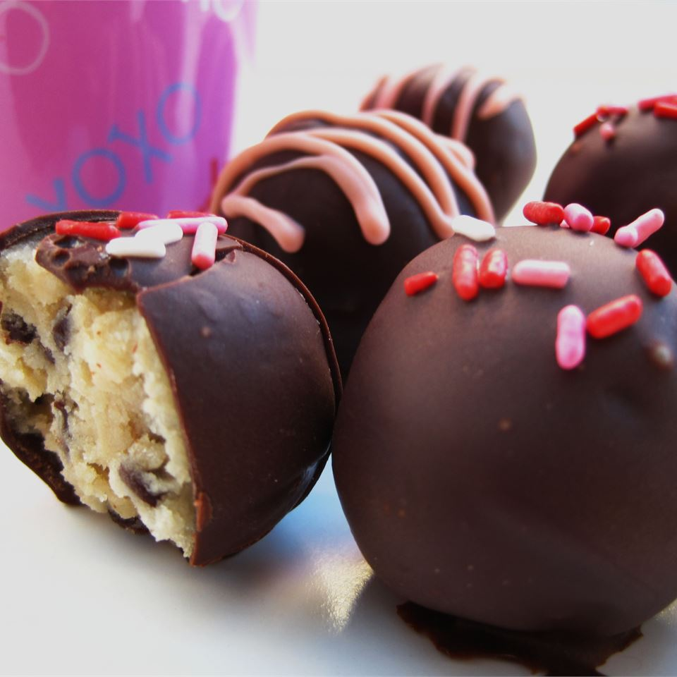 Frozen Chocolate Chip Cookie Dough Balls dipped in chocolate