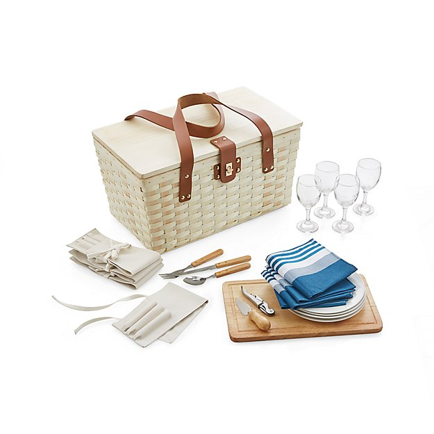 Outfitted Wooden Picnic Basket