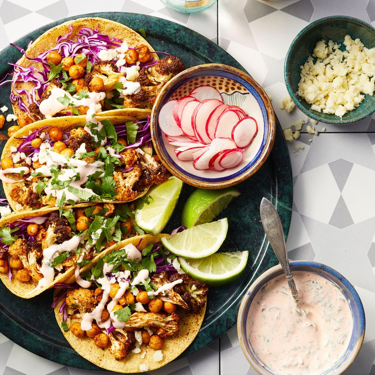 Air Fryer Vegetarian Cauliflower and Chickpea Tacos