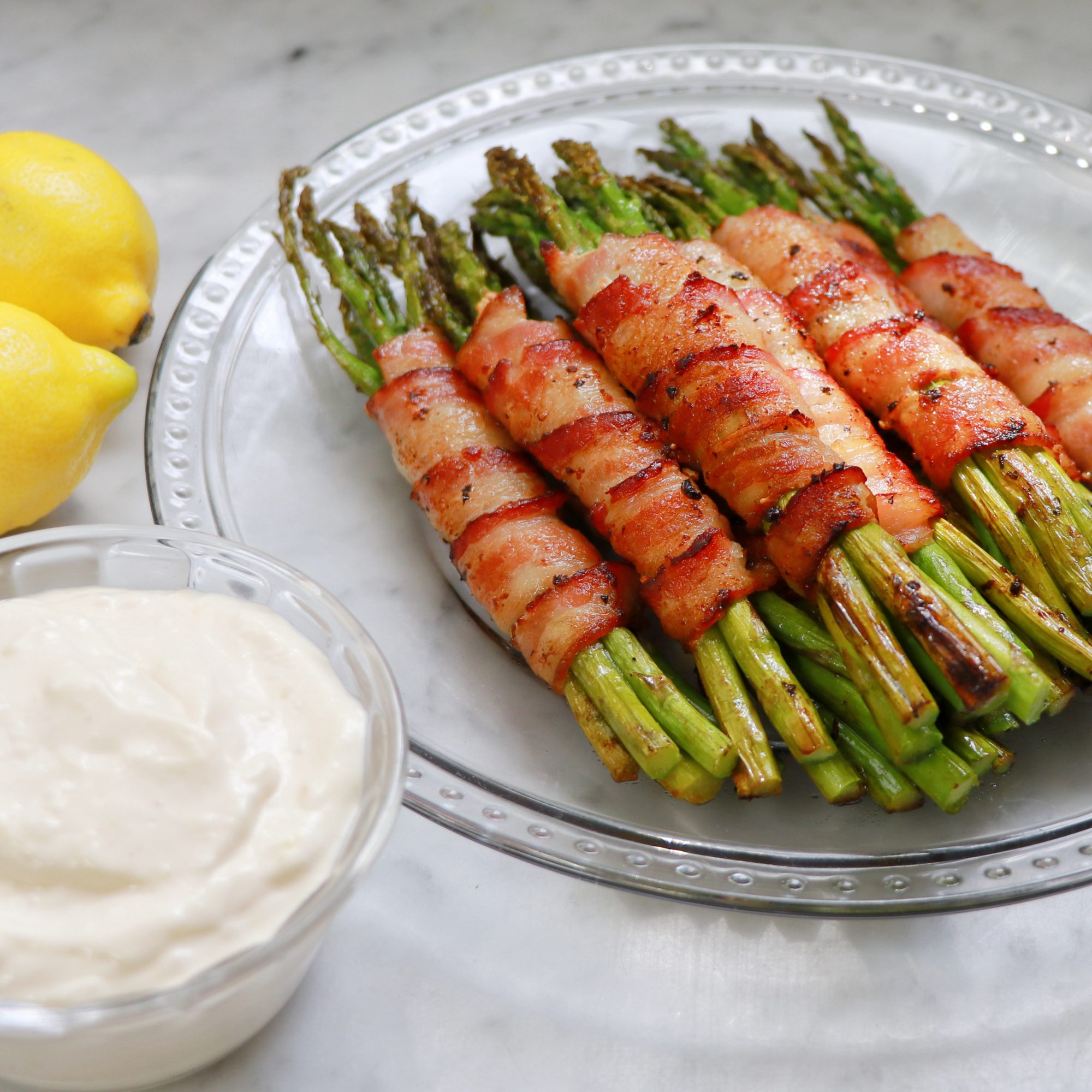 Keto Bacon-Wrapped Asparagus with Lemon Aioli