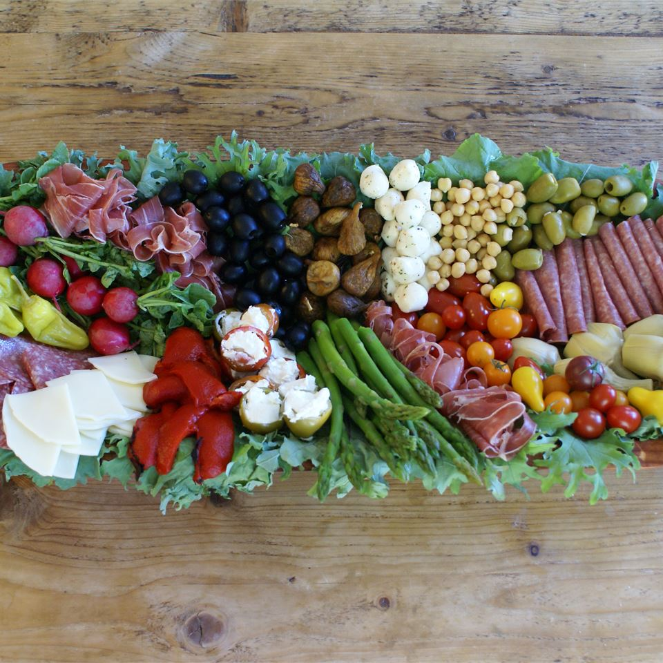 Antipasto on a wooden board