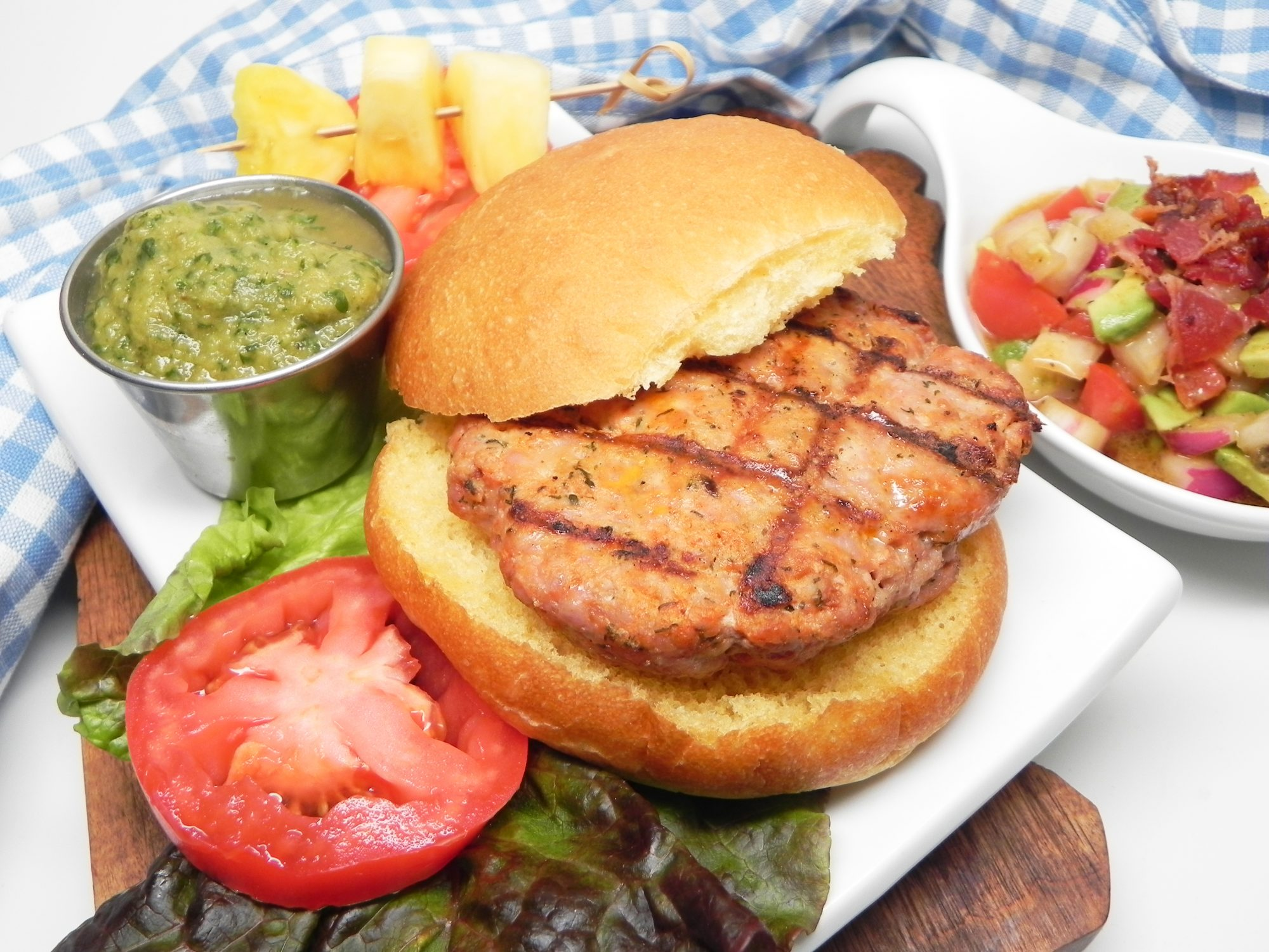 Grilled Pork Burgers with Pineapple Salsa