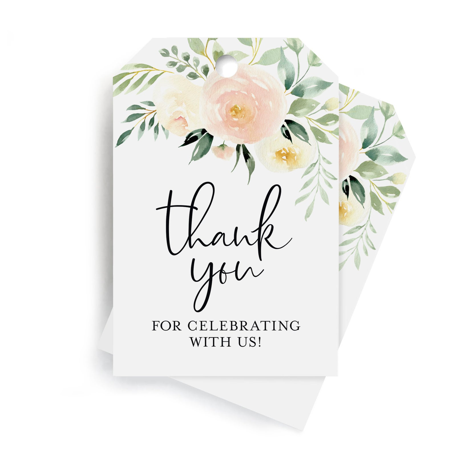 Blush Floral Favor Thank You Tags