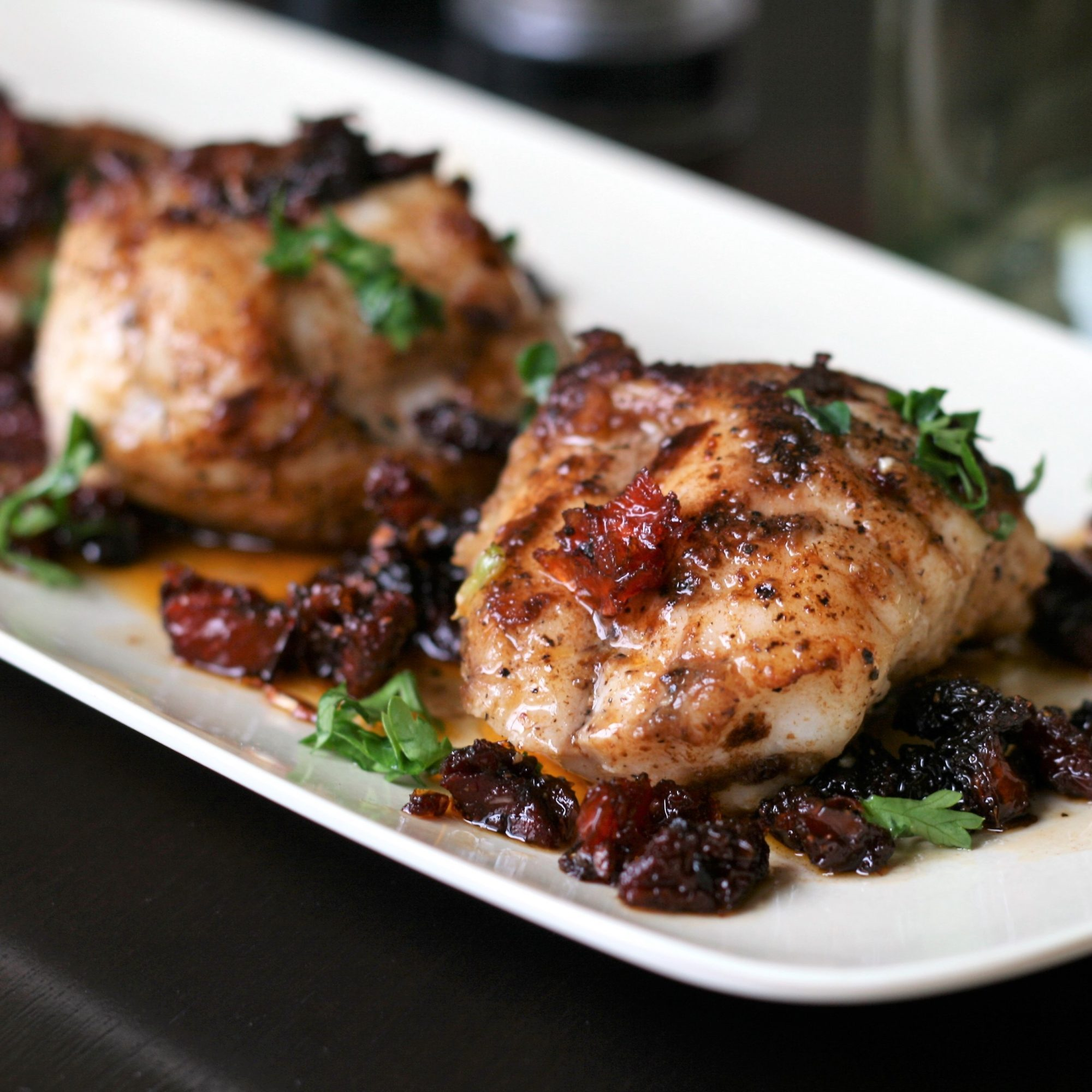 Seared Monkfish with Balsamic and Sun-Dried Tomatoes