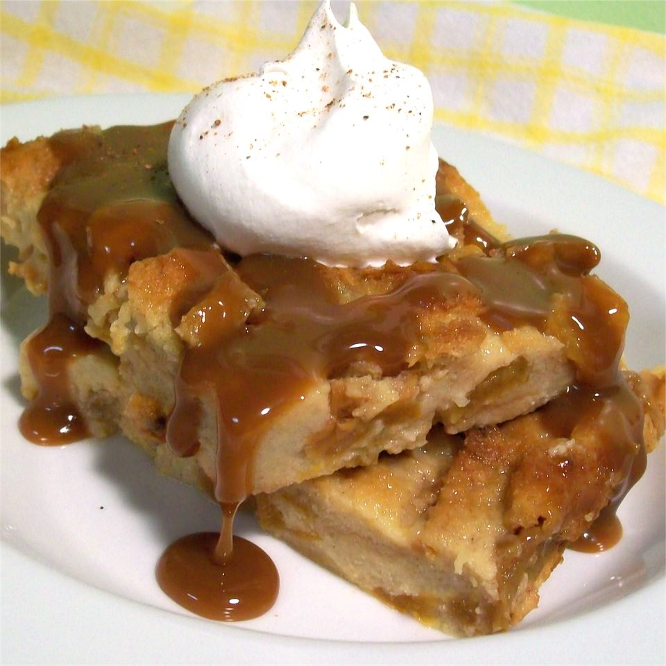 Peachy Bread Pudding with Caramel Sauce