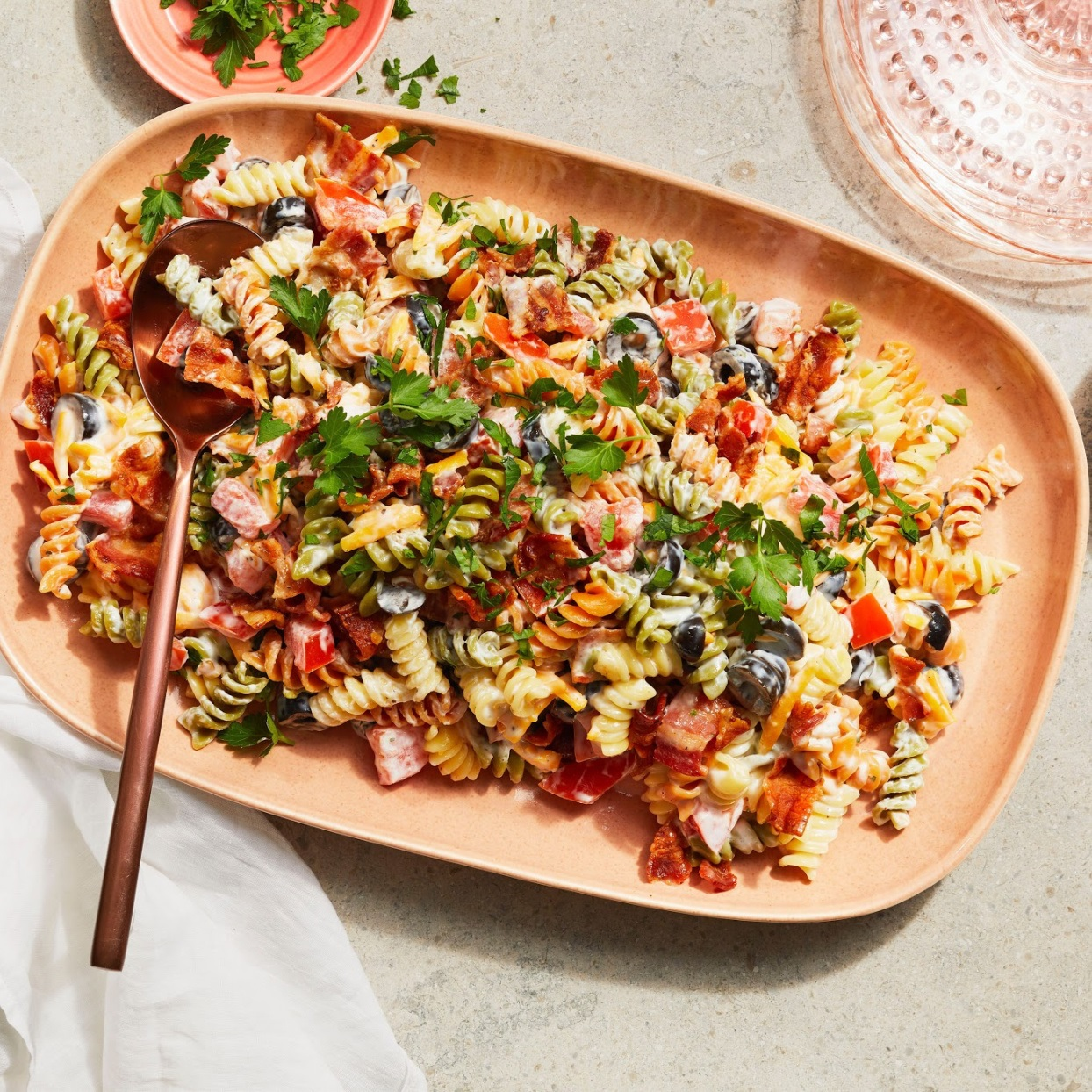 Bacon Ranch Pasta Salad on a serving dish