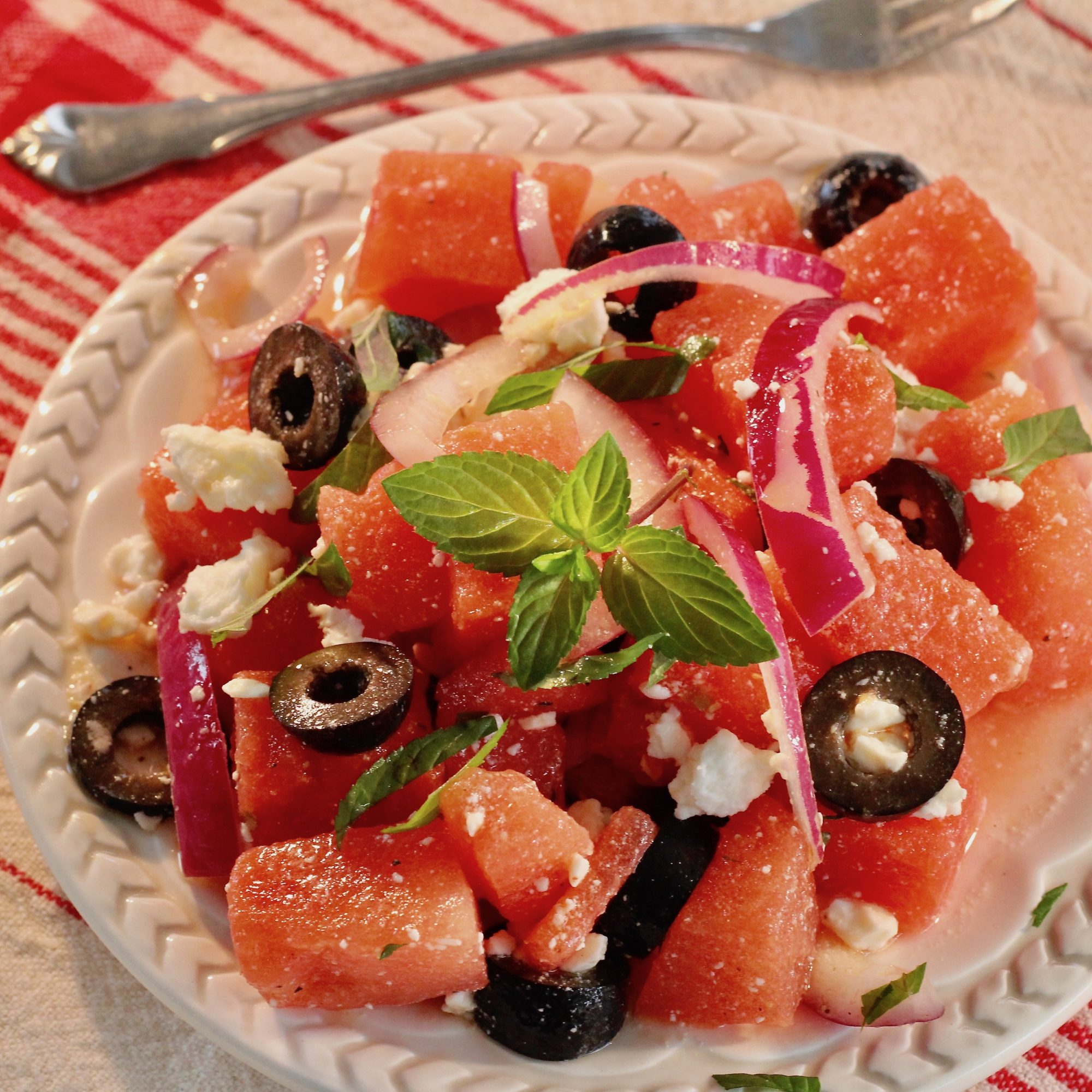 Watermelon Salad with Mint Dressing