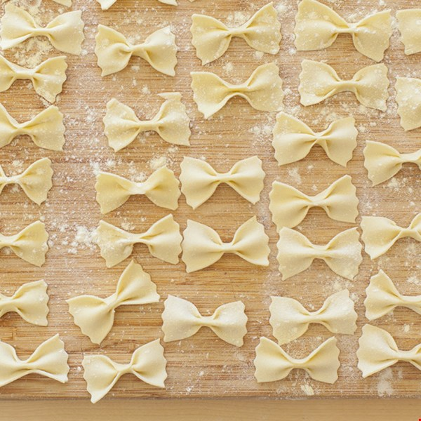 """""""Flour and water are all you need to make traditional farfalle (or bow ties) at home,"""" says tea. Make sure to use a durum wheat semolina, a very refined flour (usually imported directly from Italy) or your pasta won't stay firm and """"al dente"""" during the cooking process."""" Watch the short video to see how to make farfalle pasta.                           Pair Your Pasta:"""