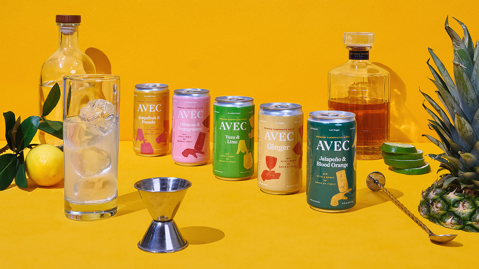 Avec Drinks The Smapler Variety Pack on yellow background