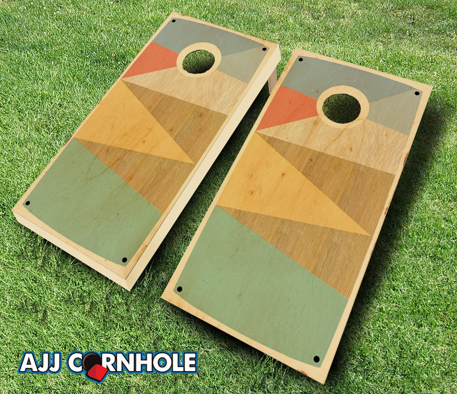 Retro Stained Boat Shoe Cornhole Set with Bags