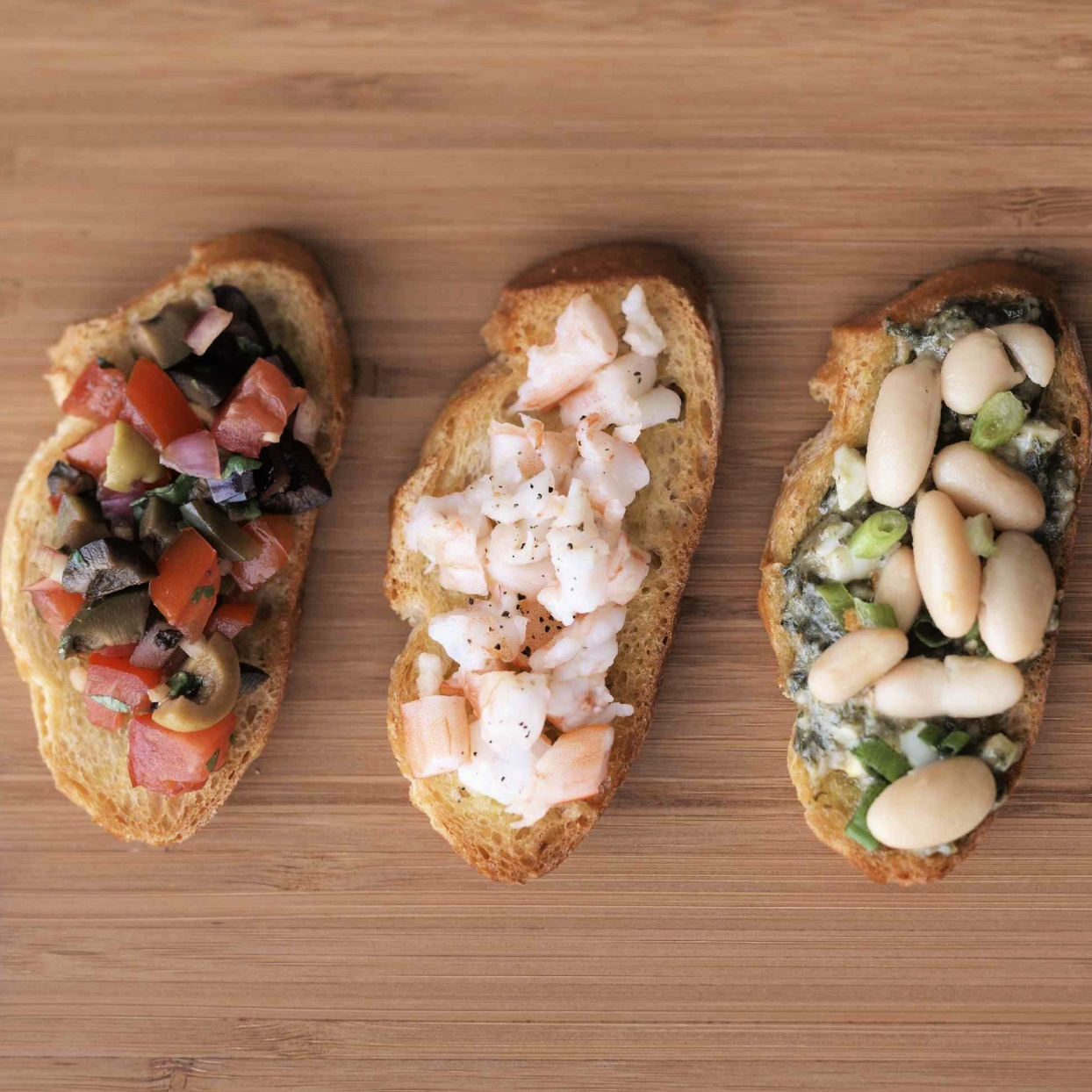 Bruschetta with a variety of toppings